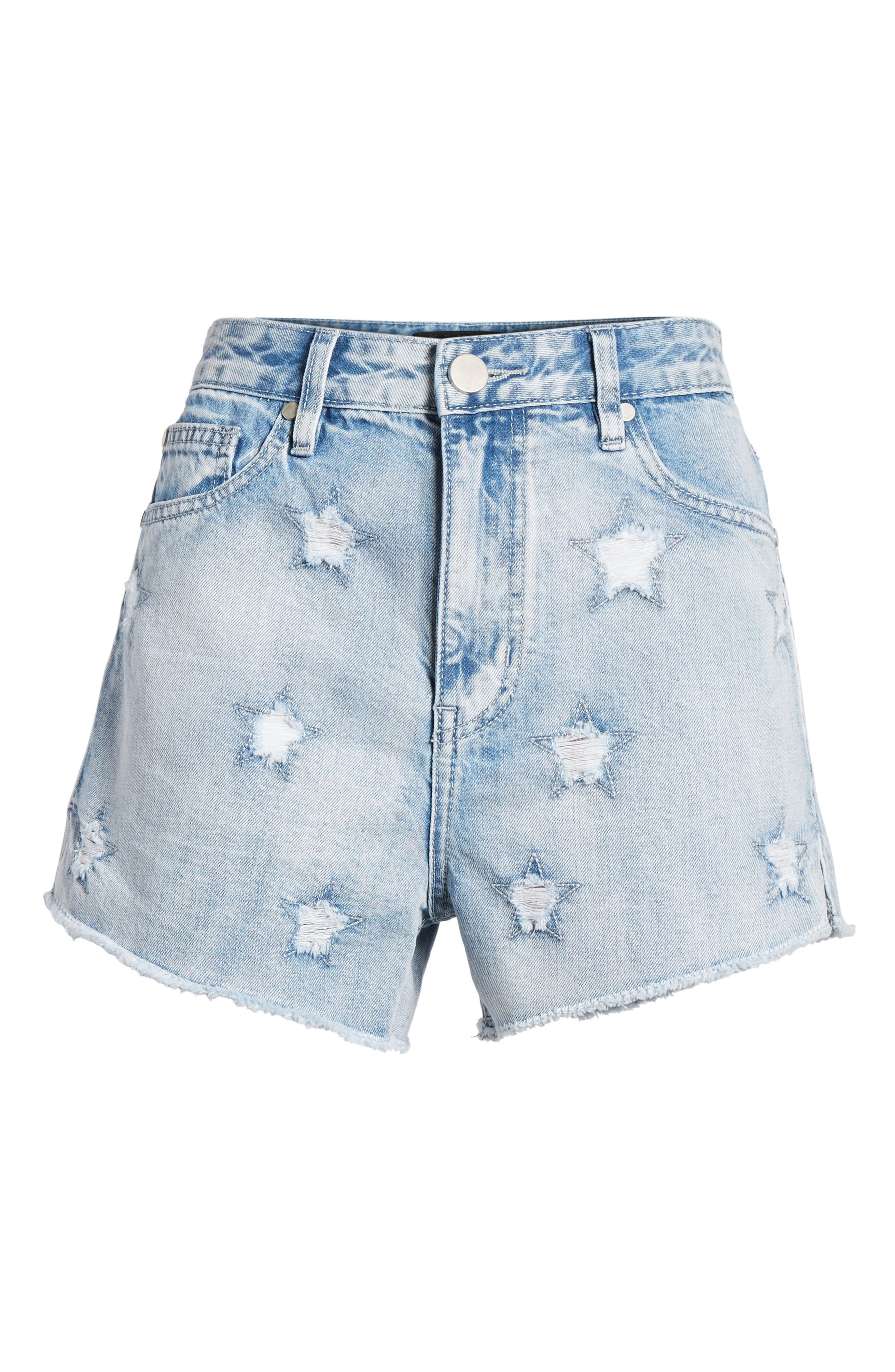 Acid Wash Star Denim Shorts,                             Alternate thumbnail 7, color,                             Super Light Acid
