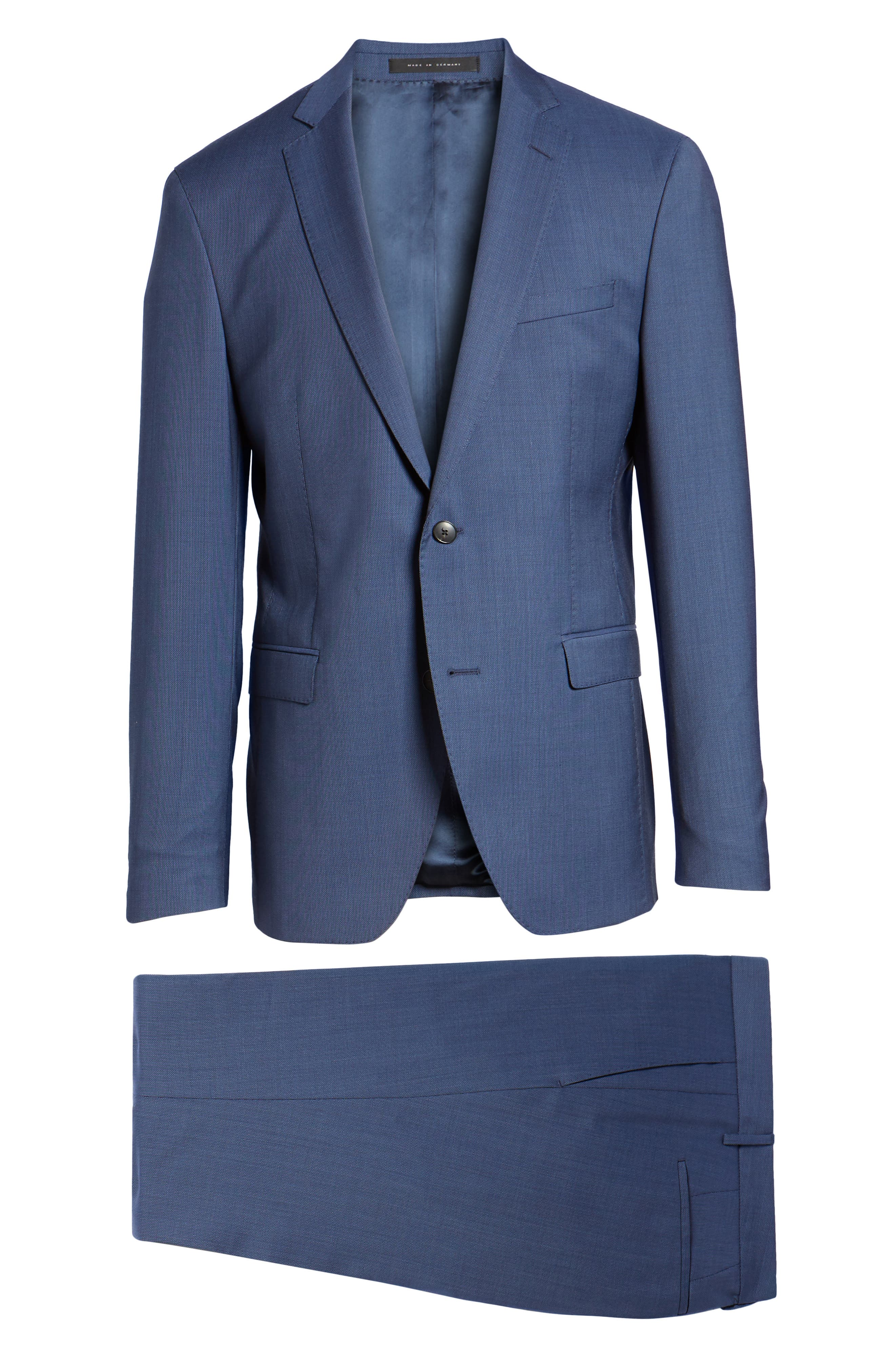 Reyno/Wave Extra Trim Fit Solid Wool Suit,                             Alternate thumbnail 8, color,                             Medium Blue