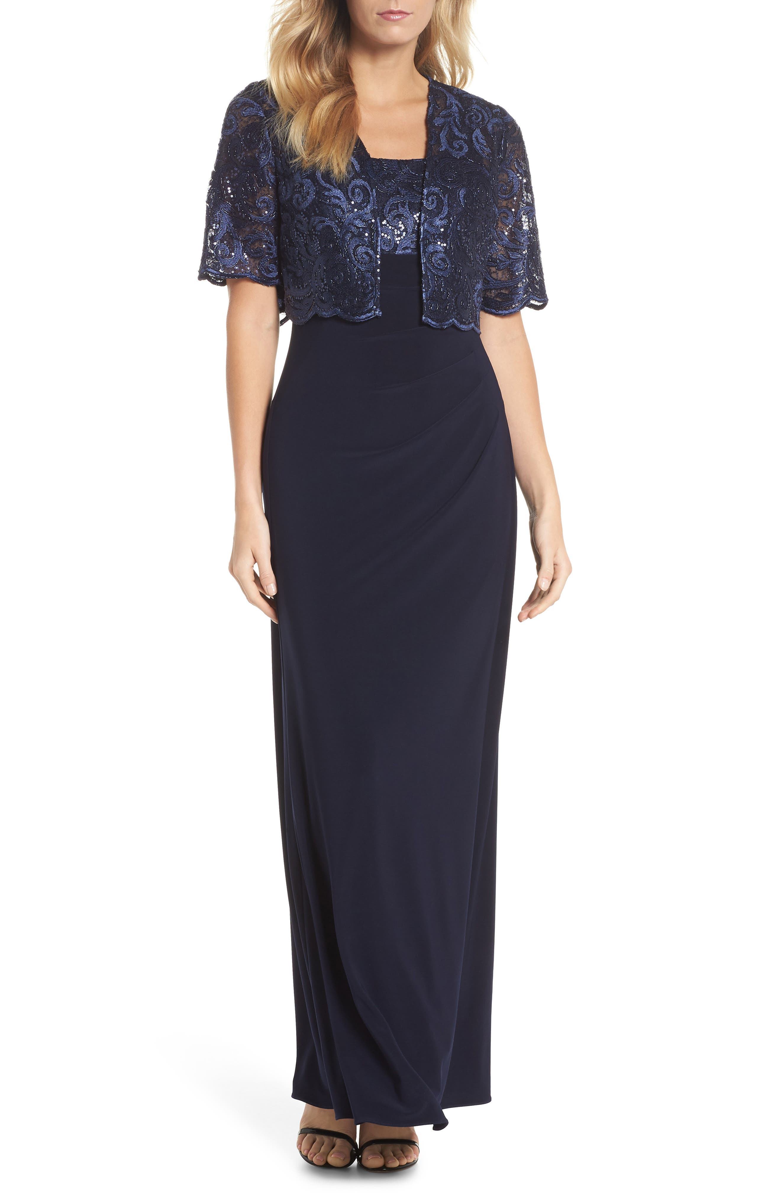 Sequin Embellished Gown with Bolero Jacket,                             Main thumbnail 1, color,                             Navy