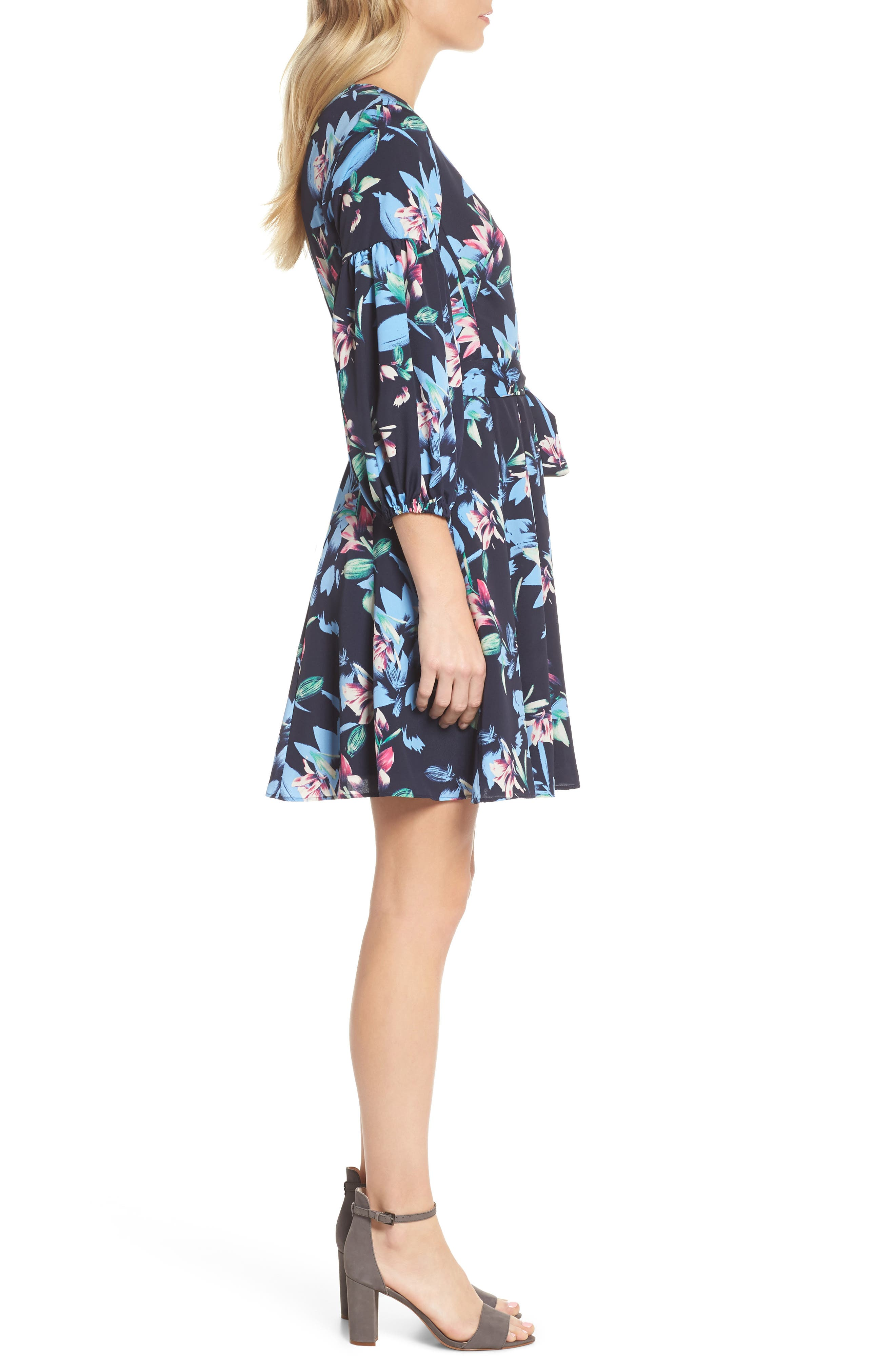 Balloon Sleeve Fit & Flare Dress,                             Alternate thumbnail 3, color,                             Navy
