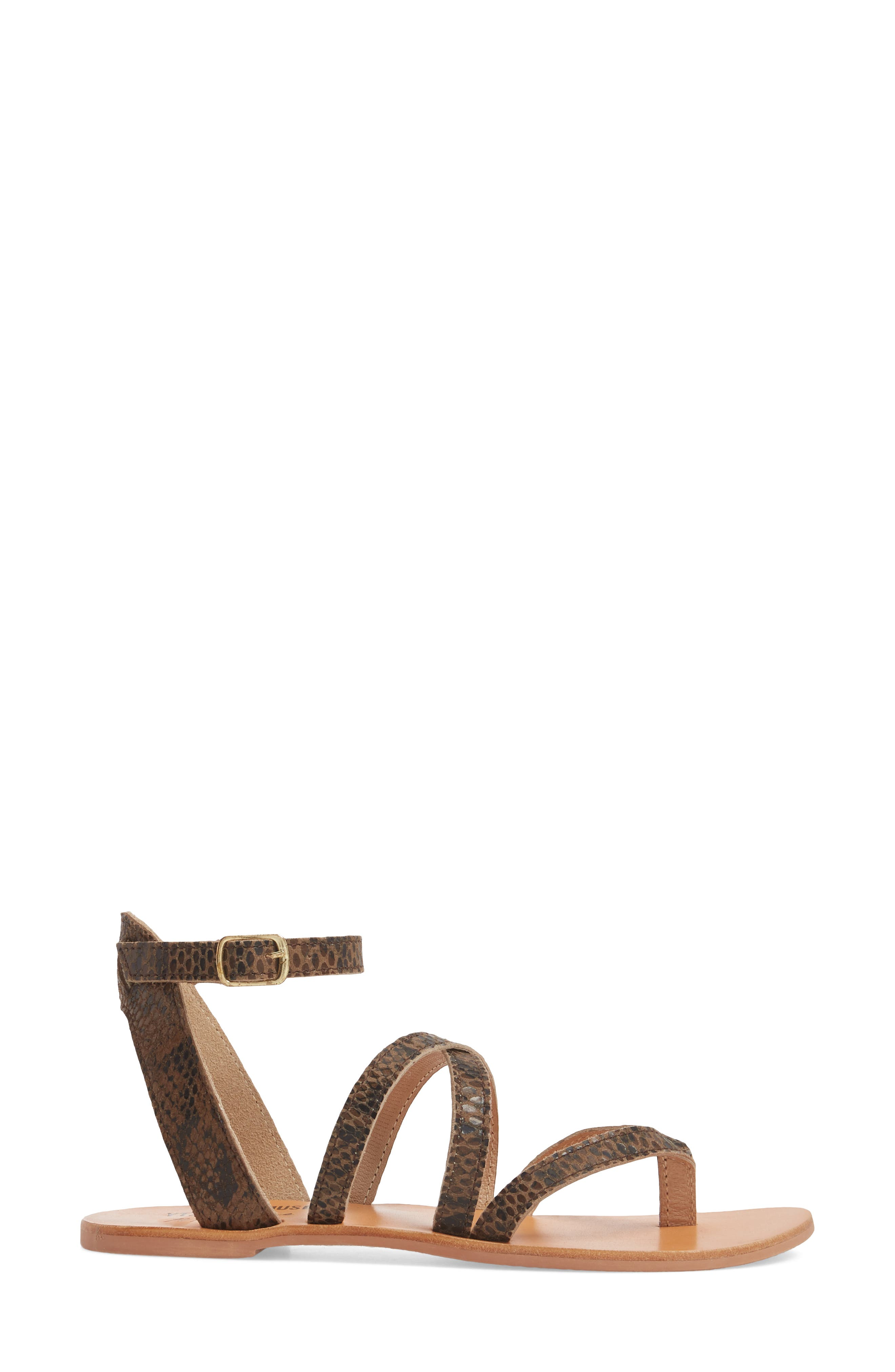 Strappy Sandal,                             Alternate thumbnail 3, color,                             Brown Snake Leather