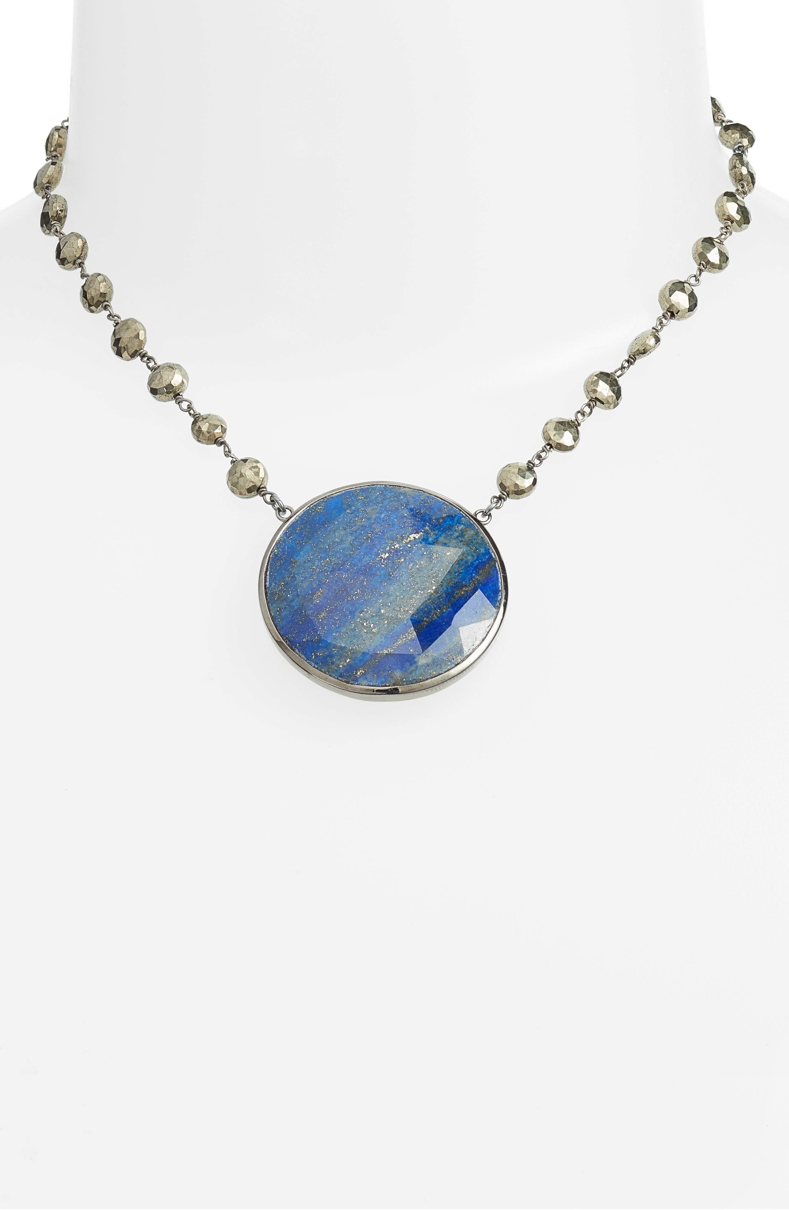 Morah Necklace,                             Alternate thumbnail 2, color,                             Pyrite/ Lapis Disc