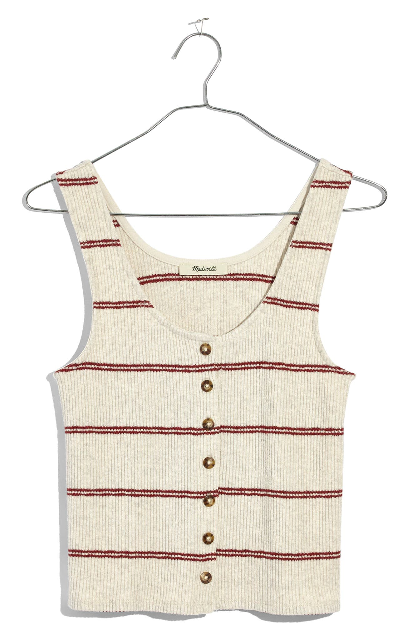 Stripe Ribbed Button Front Tank,                         Main,                         color, Heather Muslin