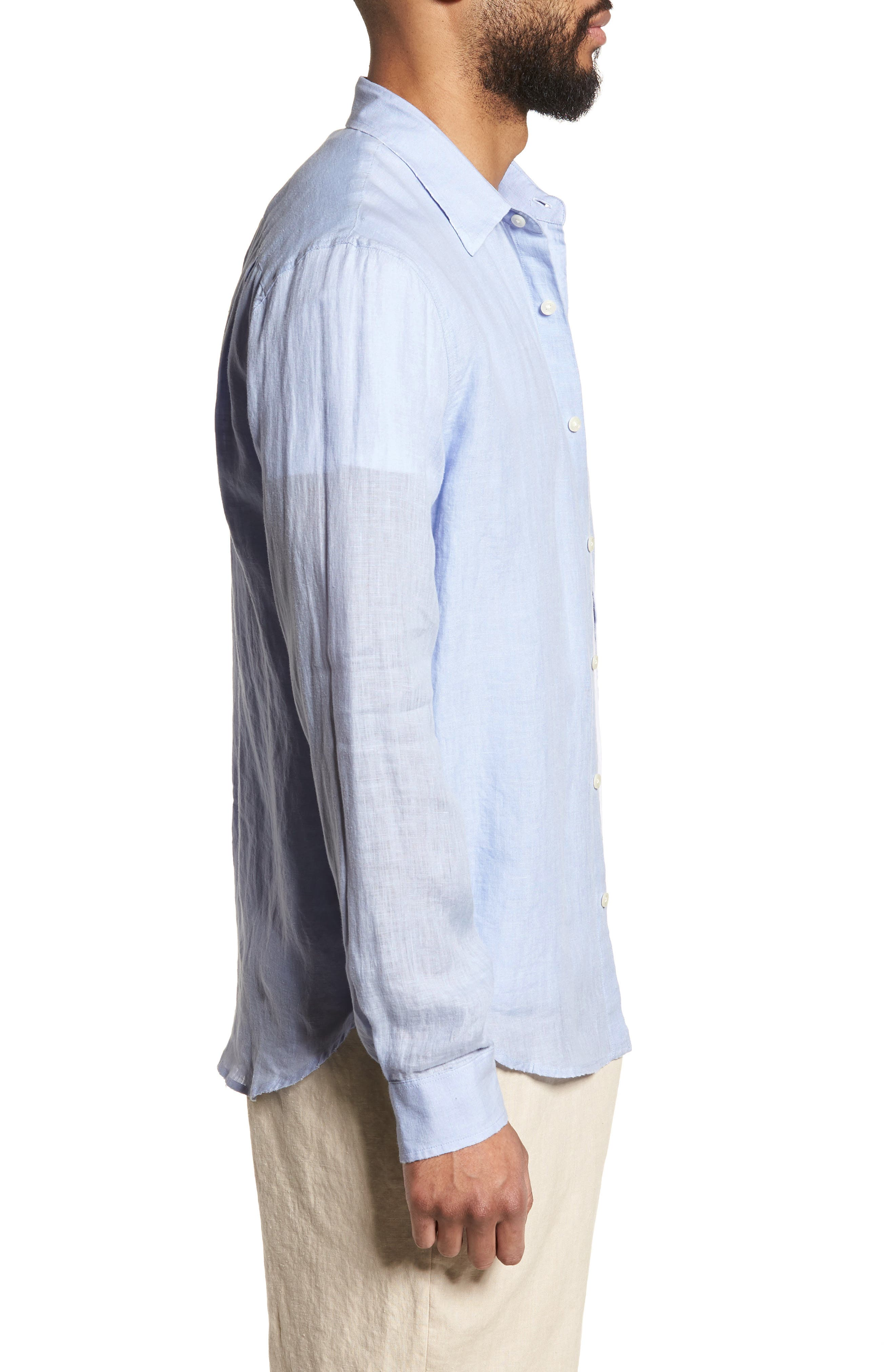 Washed Slim Fit Linen Sport Shirt,                             Alternate thumbnail 3, color,                             Feather