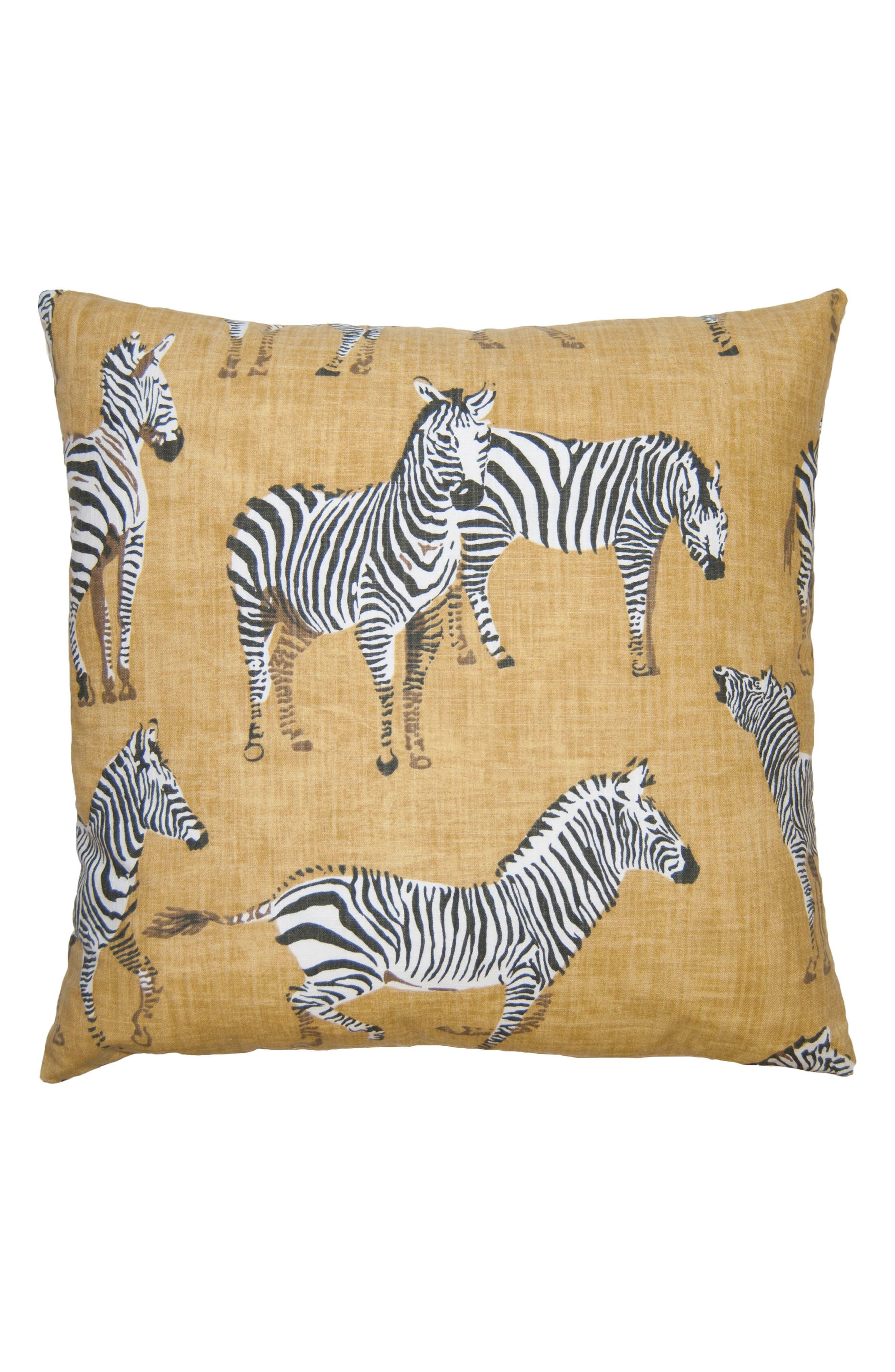Kingdom Zebra Accent Pillow,                         Main,                         color, Tan