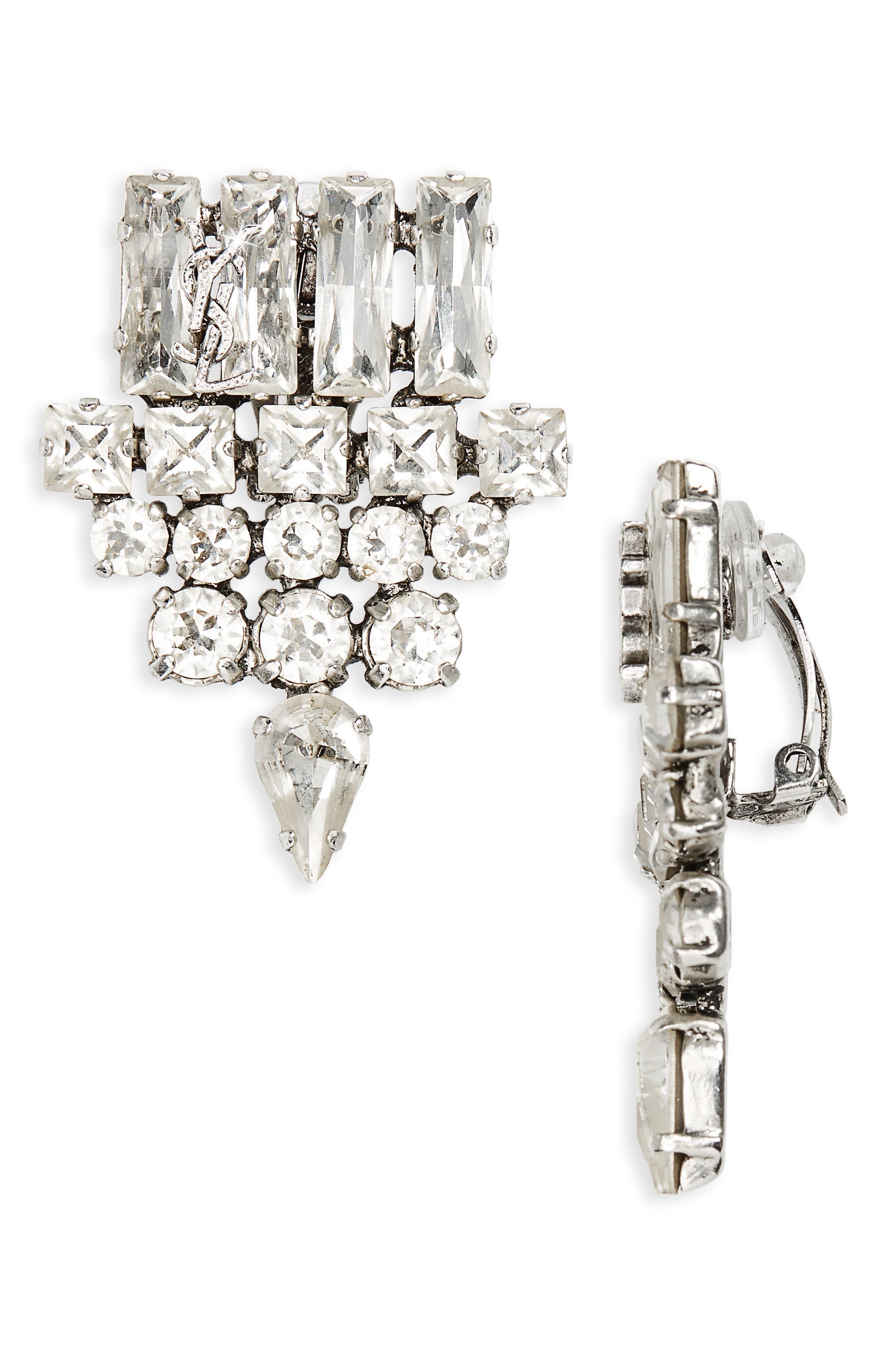 Smoking Glass Crystal Clip-On Earrings,                             Main thumbnail 1, color,                             Crystal