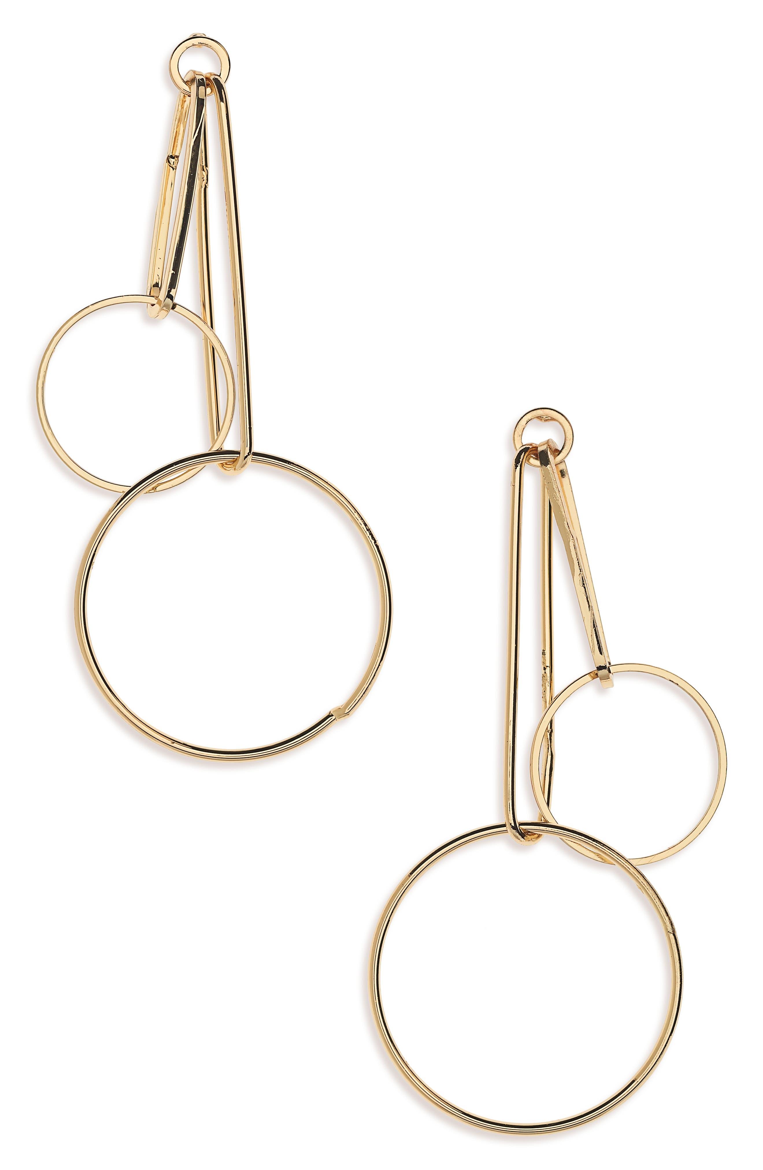 Cara Double Hoop Drop Earrings