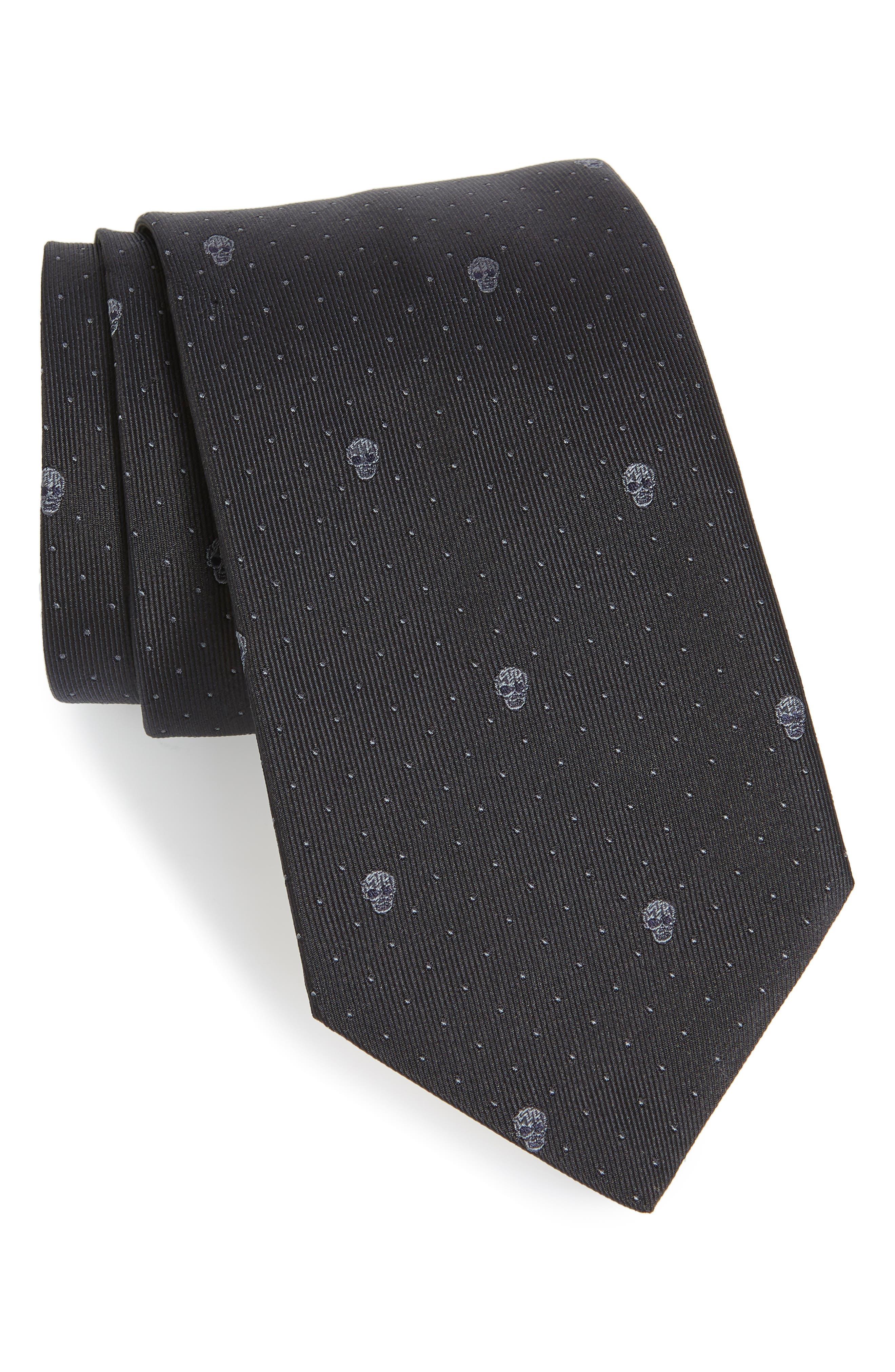 Skull Dot Silk Tie,                             Main thumbnail 1, color,                             Black