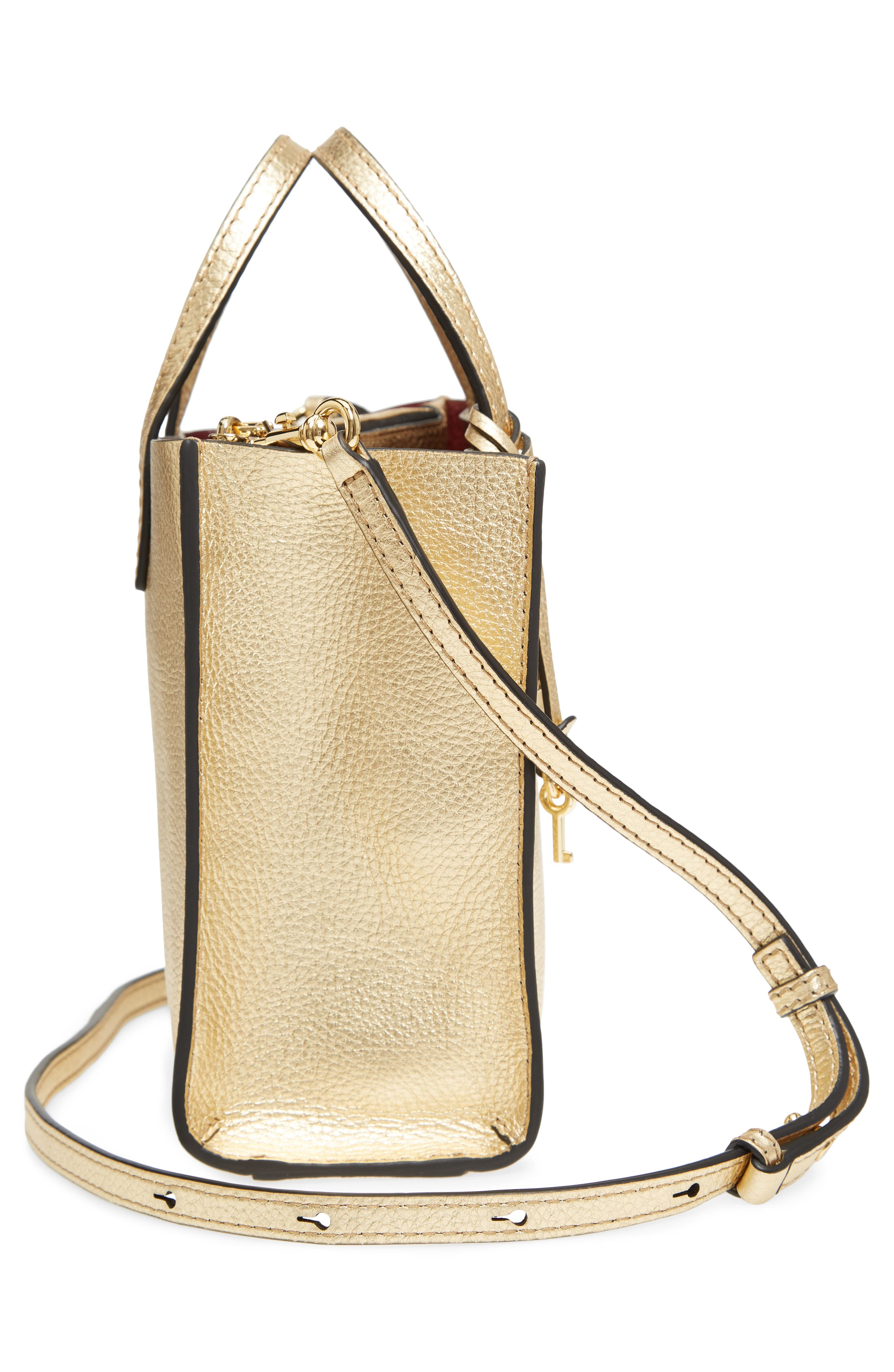 Mini The Grind Metallic Leather Tote,                             Alternate thumbnail 5, color,                             Gold