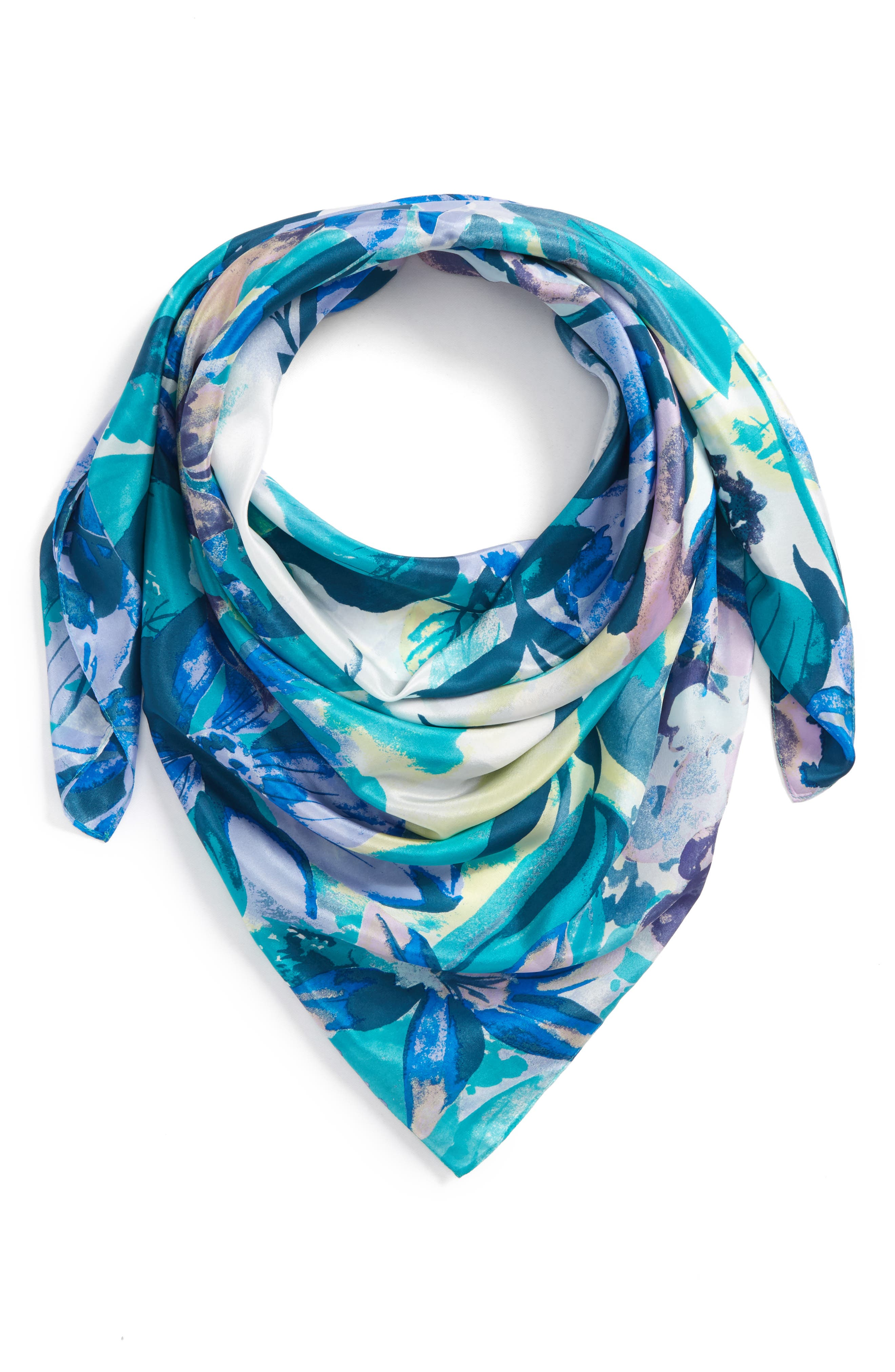 Print Silk Square Scarf,                             Alternate thumbnail 2, color,                             Teal Mirror Floral