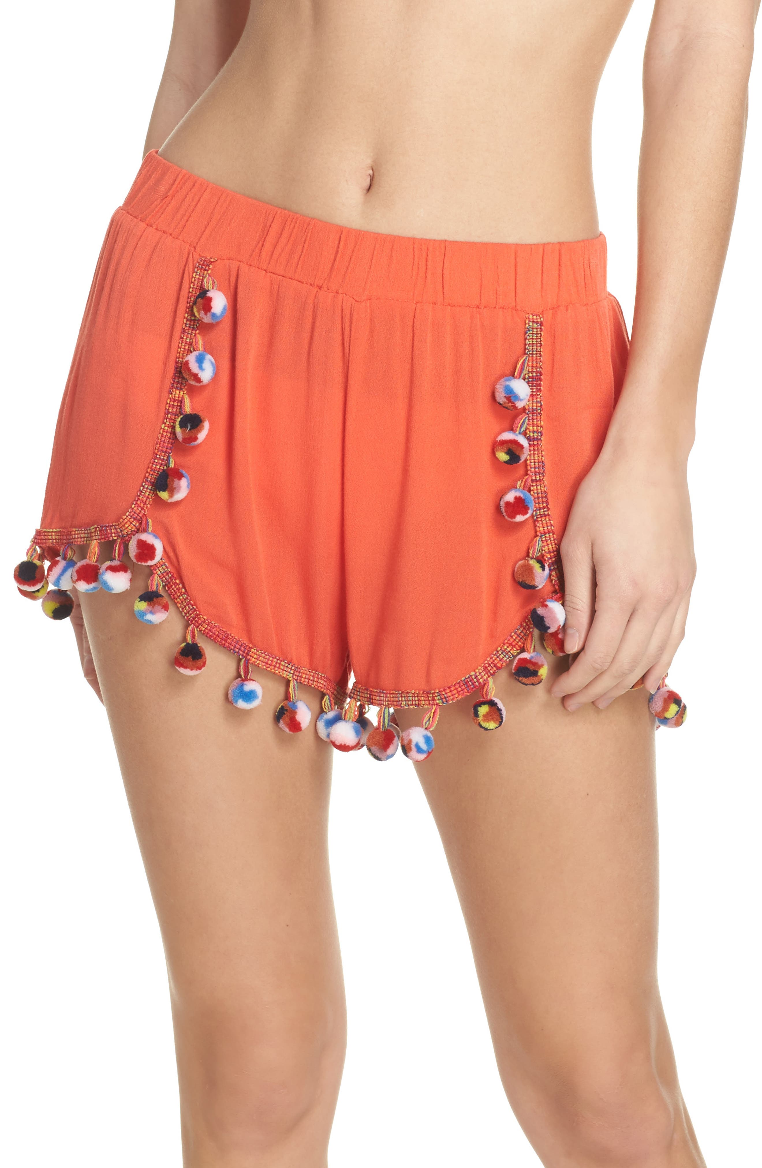 Red Fruit Punch Pompom Cover-Up Shorts,                             Main thumbnail 1, color,                             Red