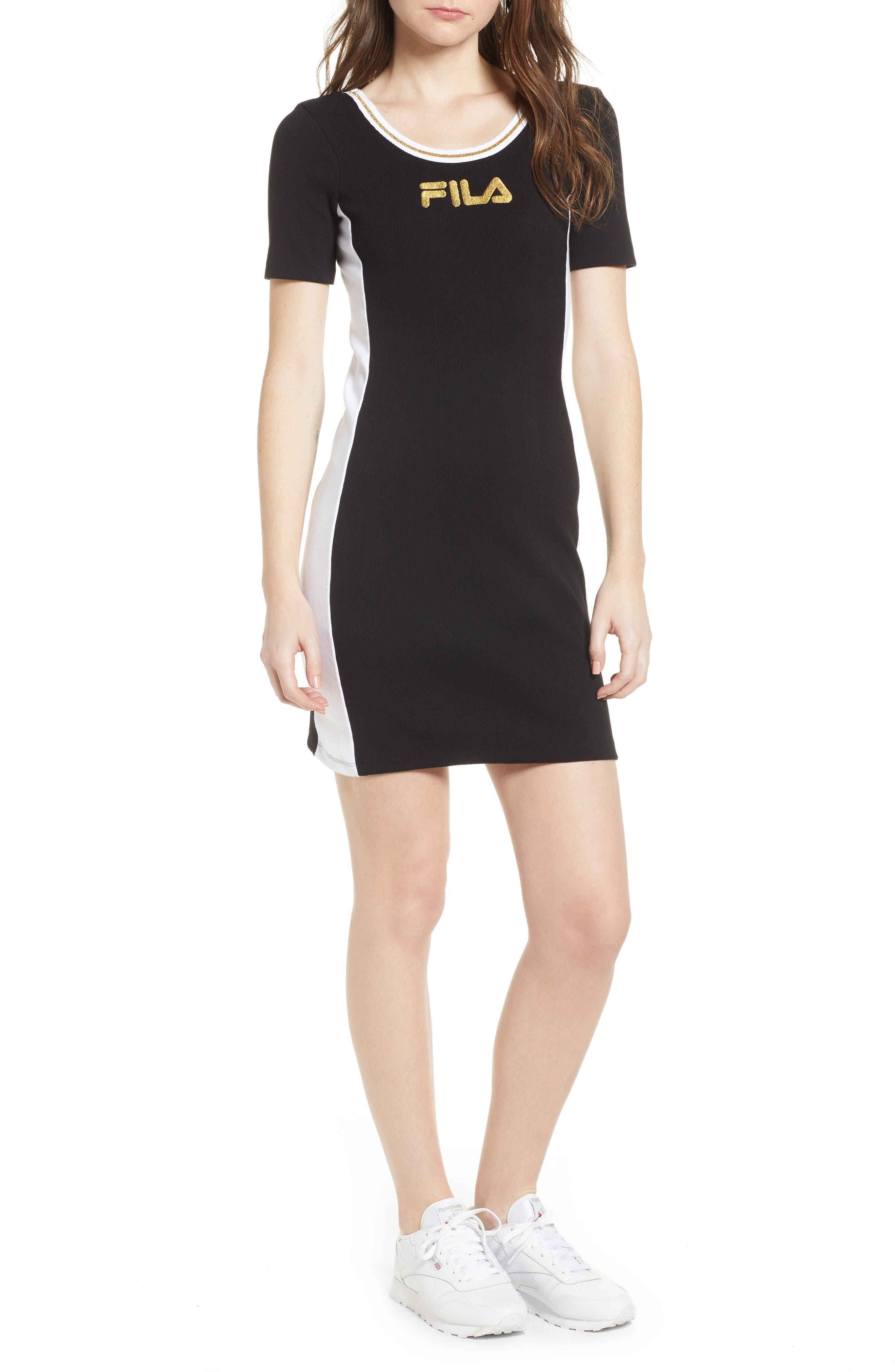 Beth Body-Con Dress,                         Main,                         color, Black/ White