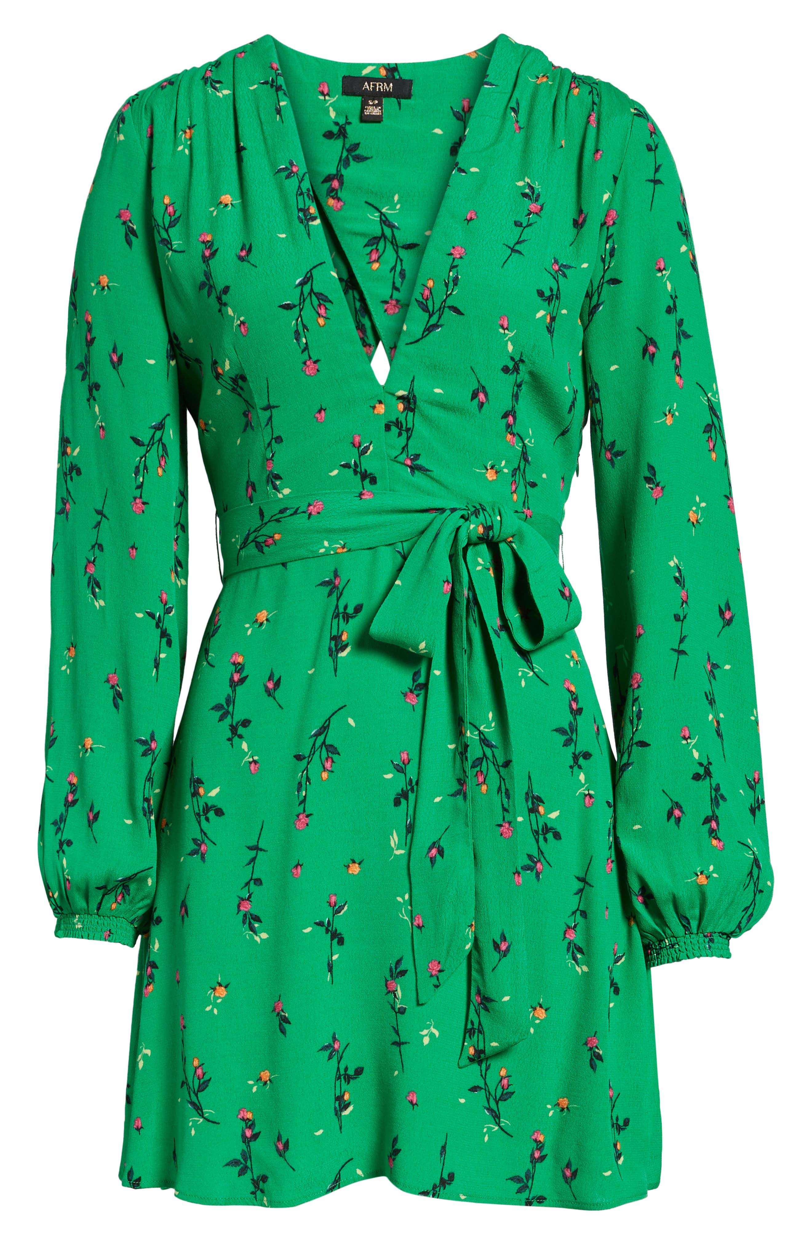 Piper Satin Open Back Dress,                             Alternate thumbnail 6, color,                             Green Ditsy Rose