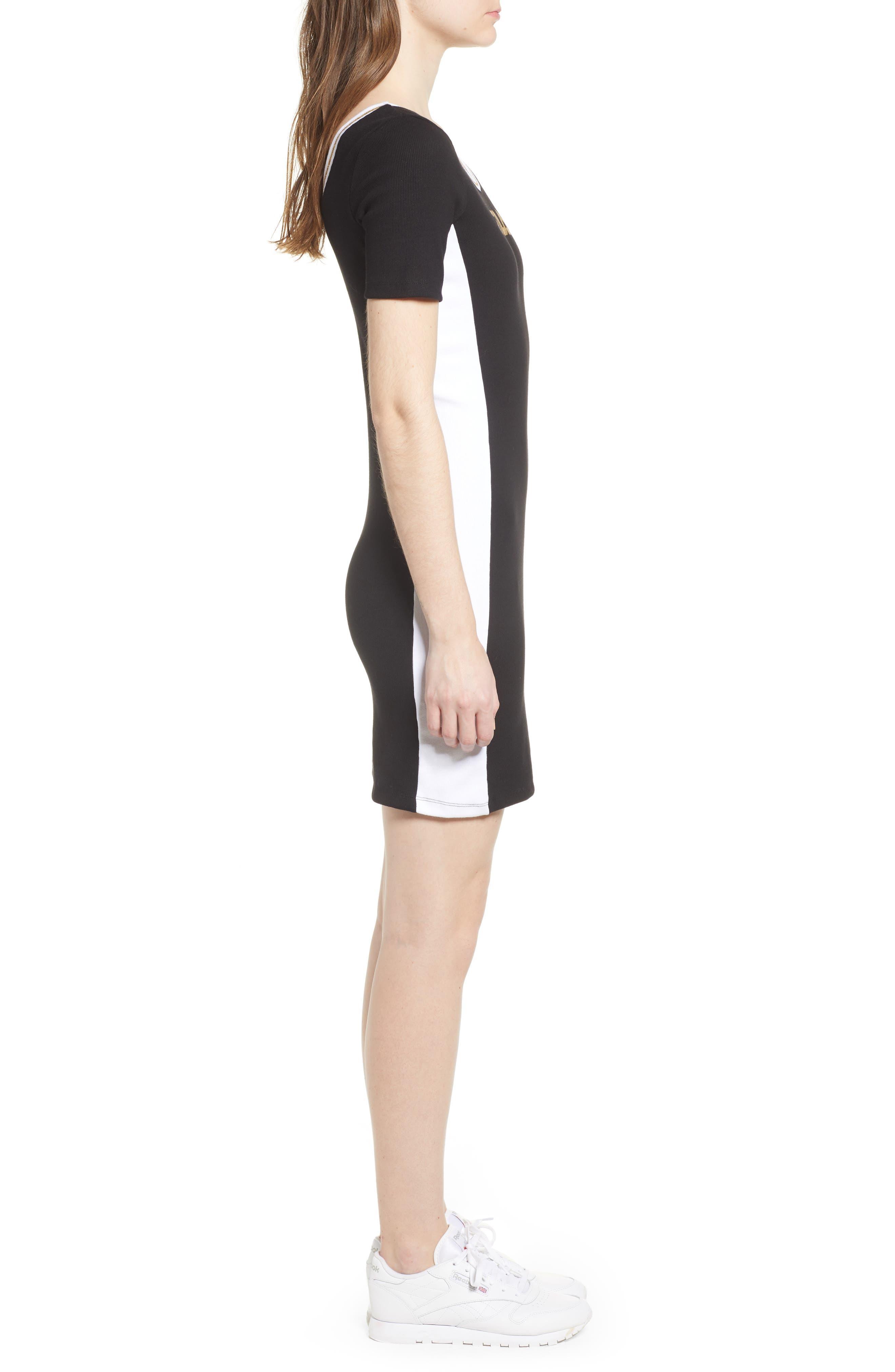 Beth Body-Con Dress,                             Alternate thumbnail 3, color,                             Black/ White