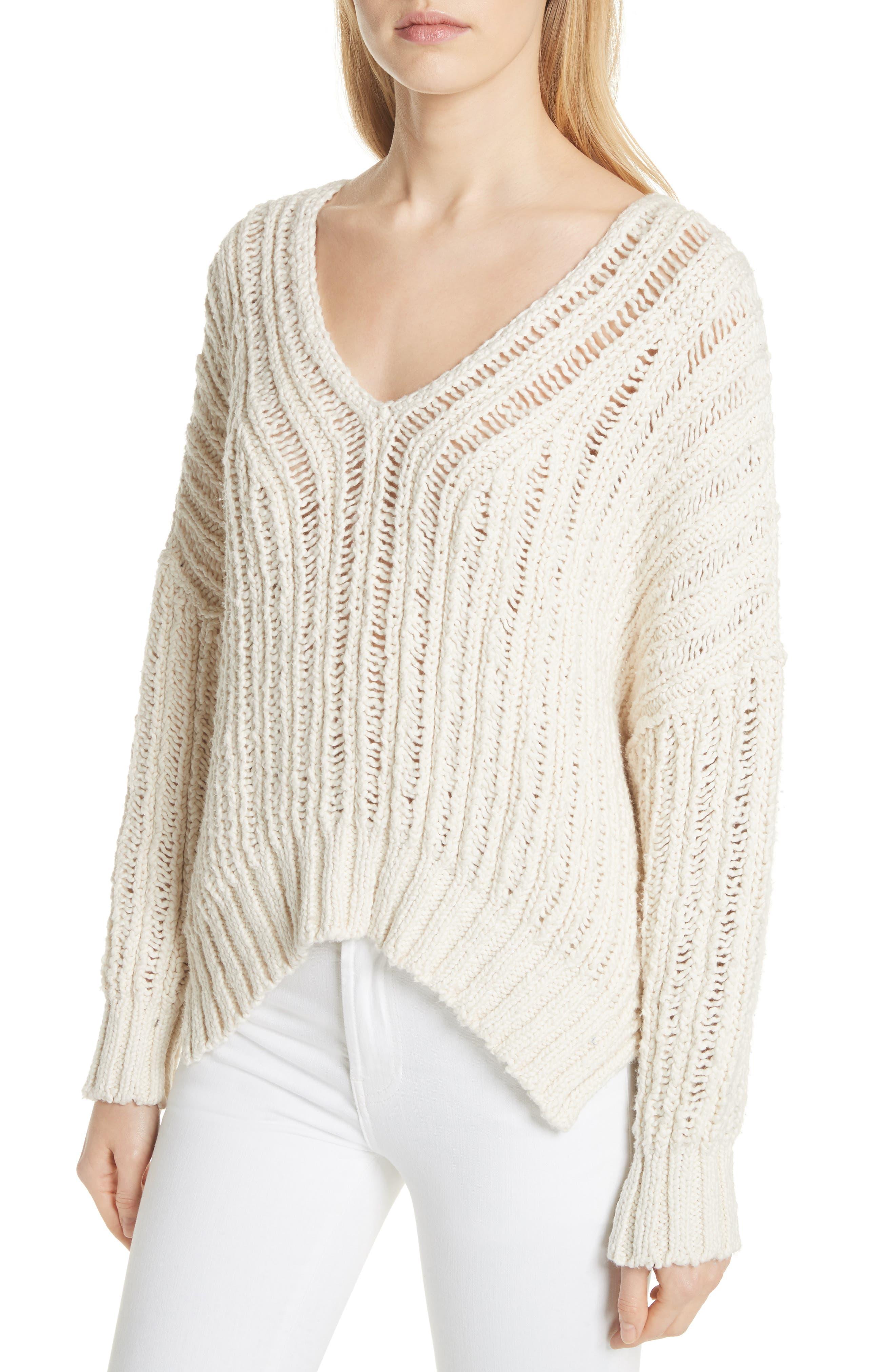 Infinite V-Neck Sweater,                             Alternate thumbnail 4, color,                             Ivory