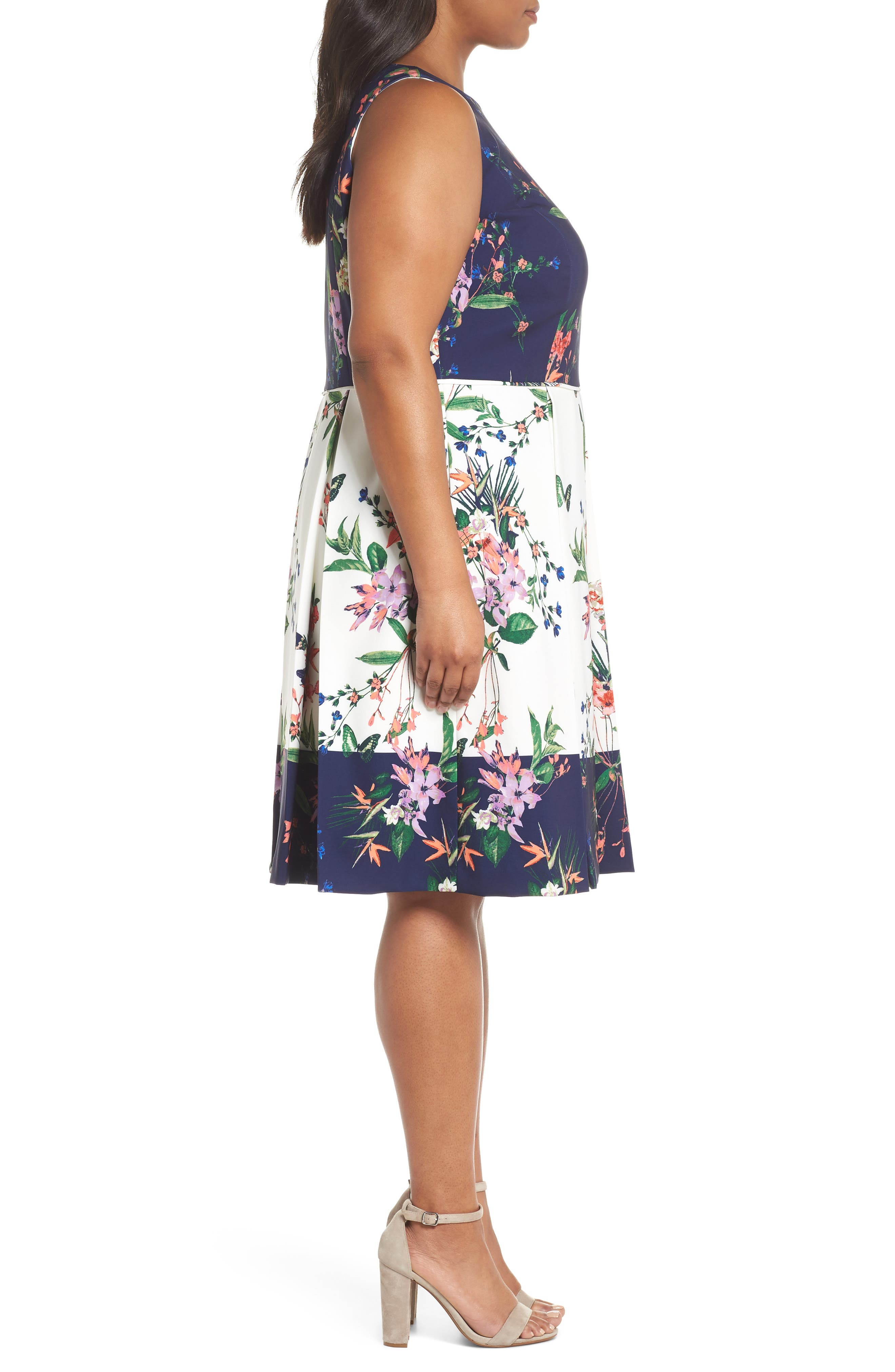 Colorblock Floral Crepe Fit & Flare Dress,                             Alternate thumbnail 3, color,                             Ivory/ Navy/ Coral