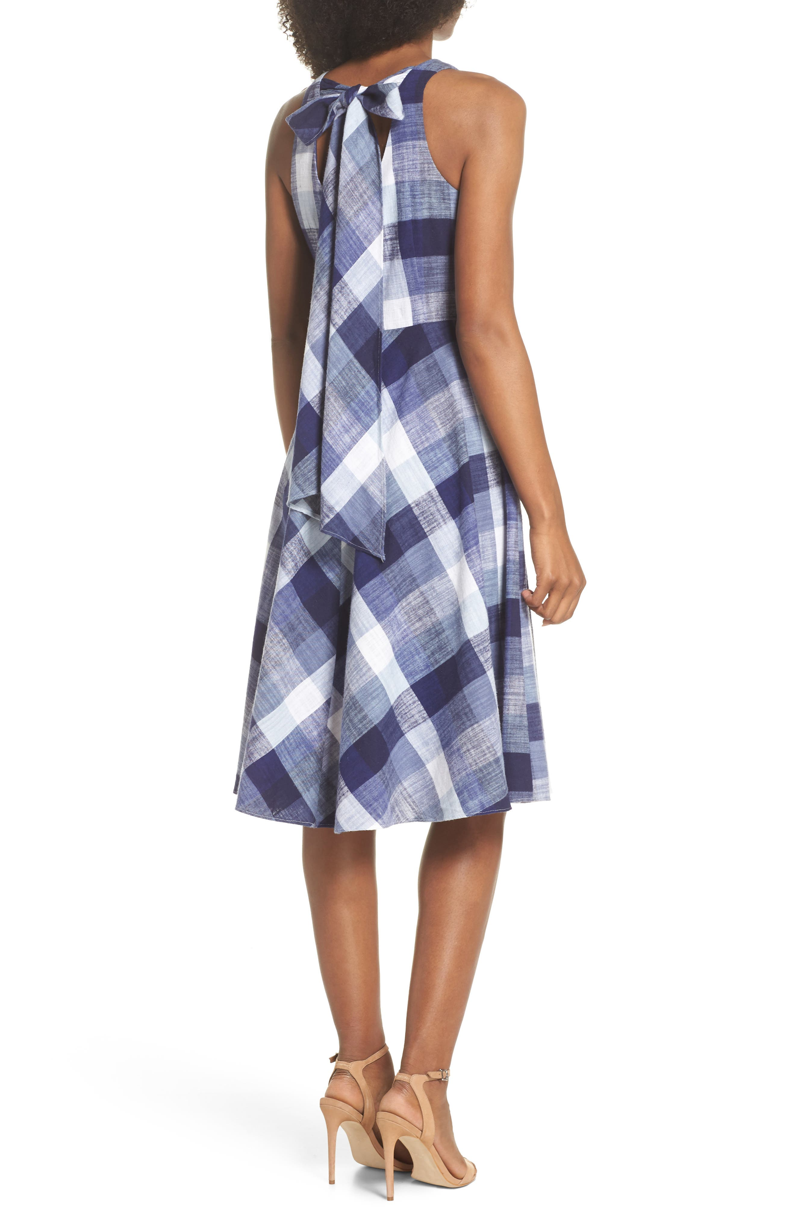 Check Fit & Flare Dress,                             Alternate thumbnail 2, color,                             Navy