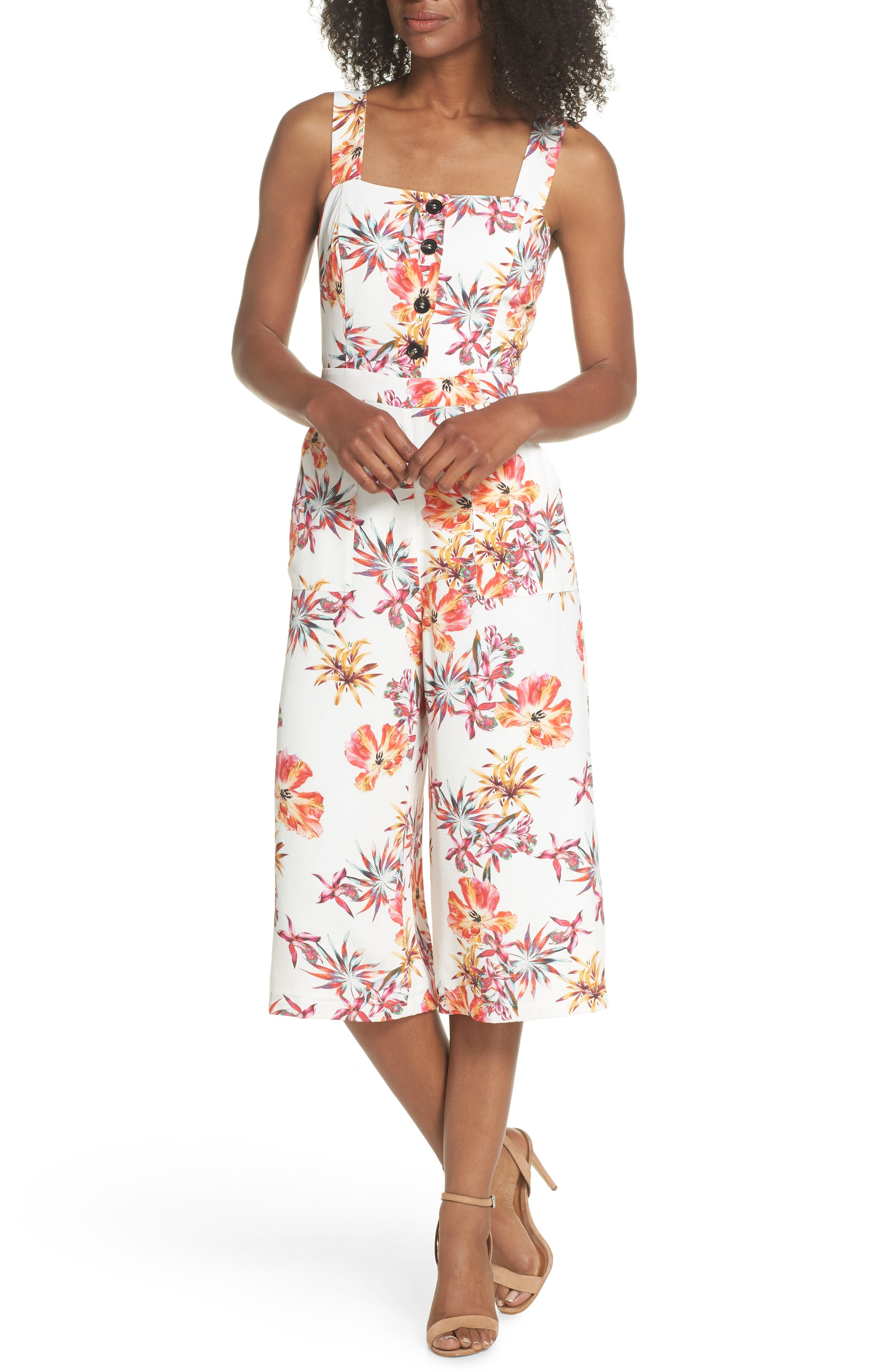 Eloise Floral Jumpsuit,                             Main thumbnail 1, color,                             Off White/ Red