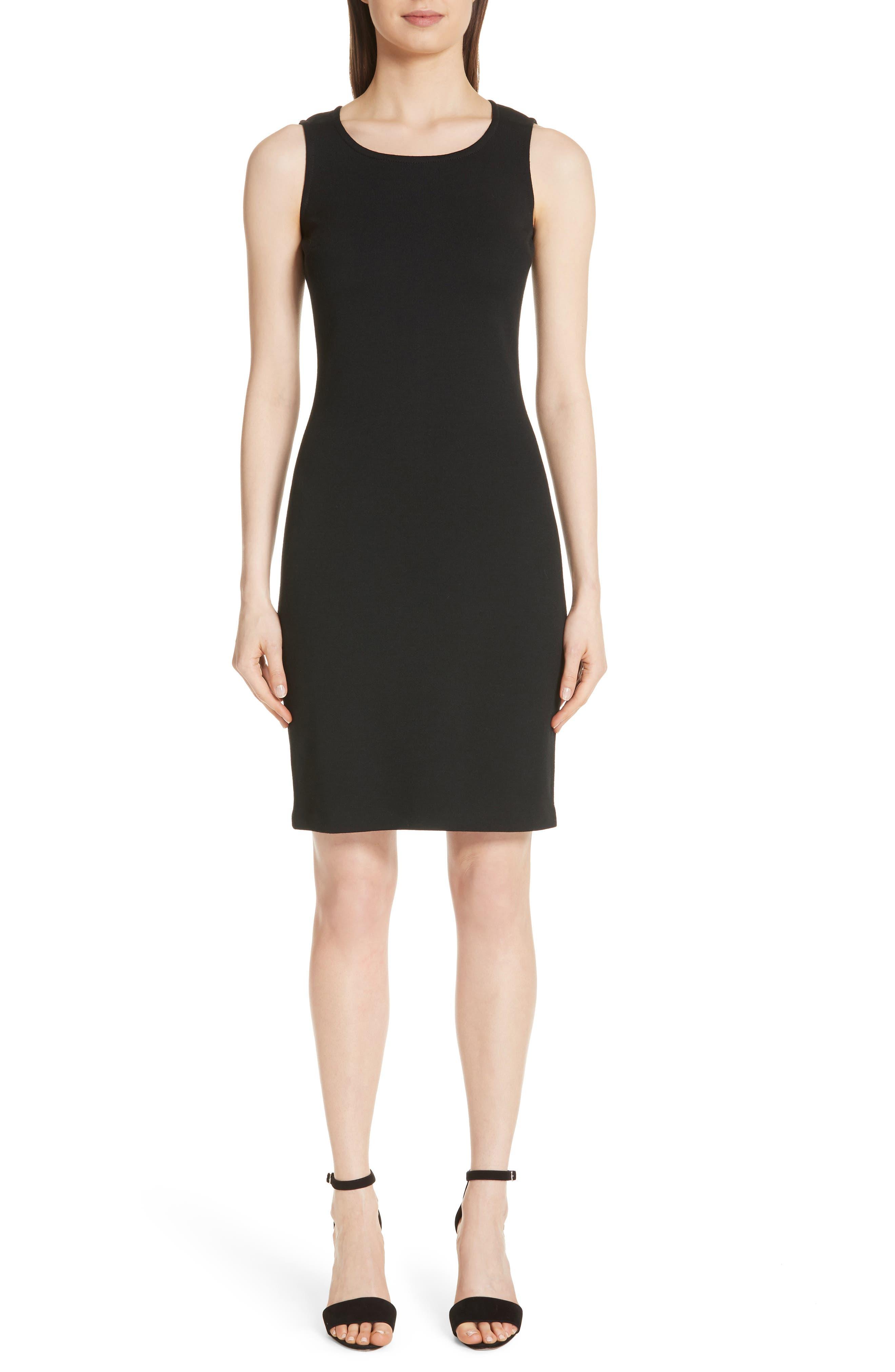 Sleeveless Milano Knit Dress,                         Main,                         color, Caviar