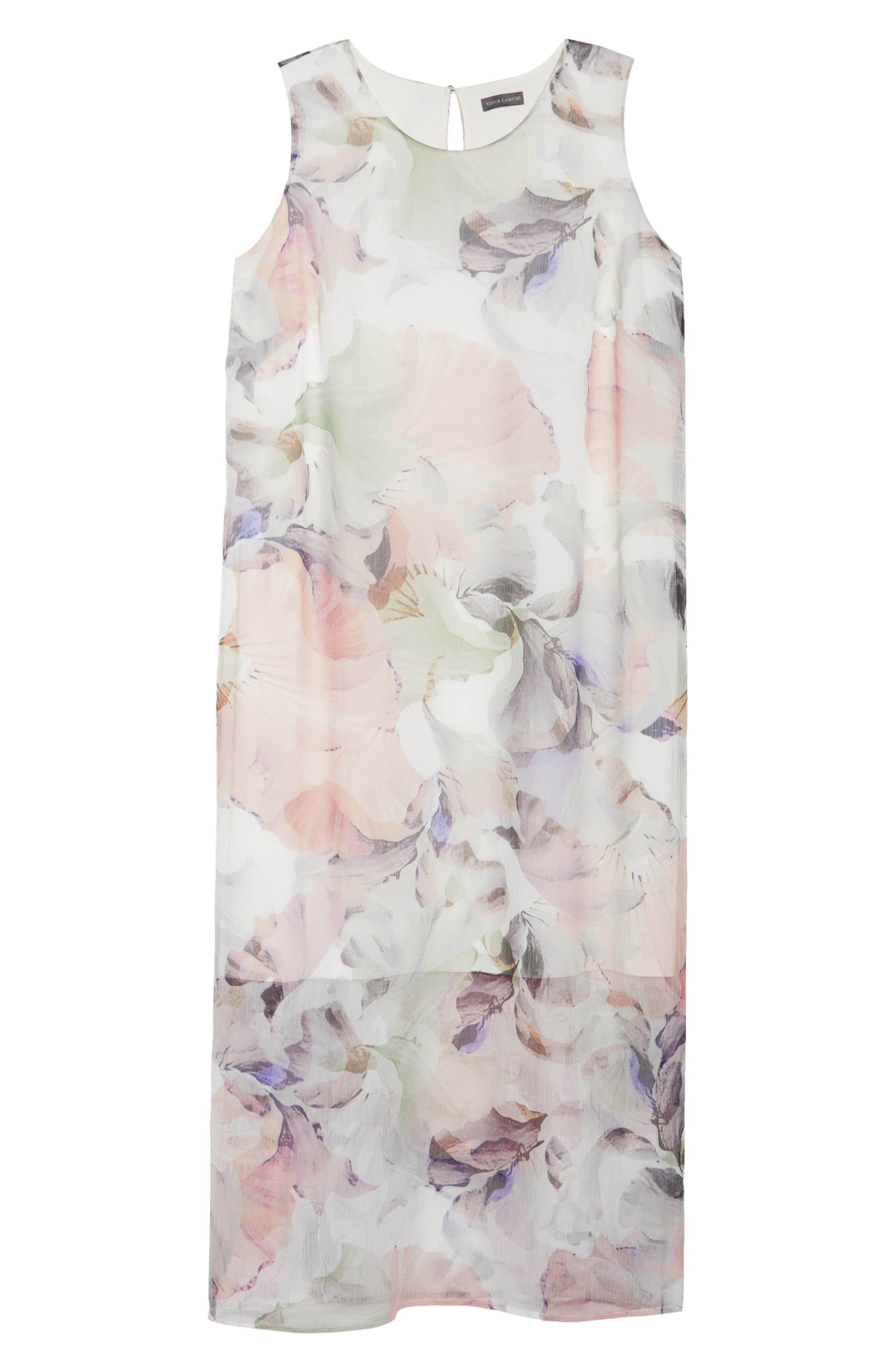 Diffused Blooms Overlay Midi Dress,                             Alternate thumbnail 6, color,                             New Ivory