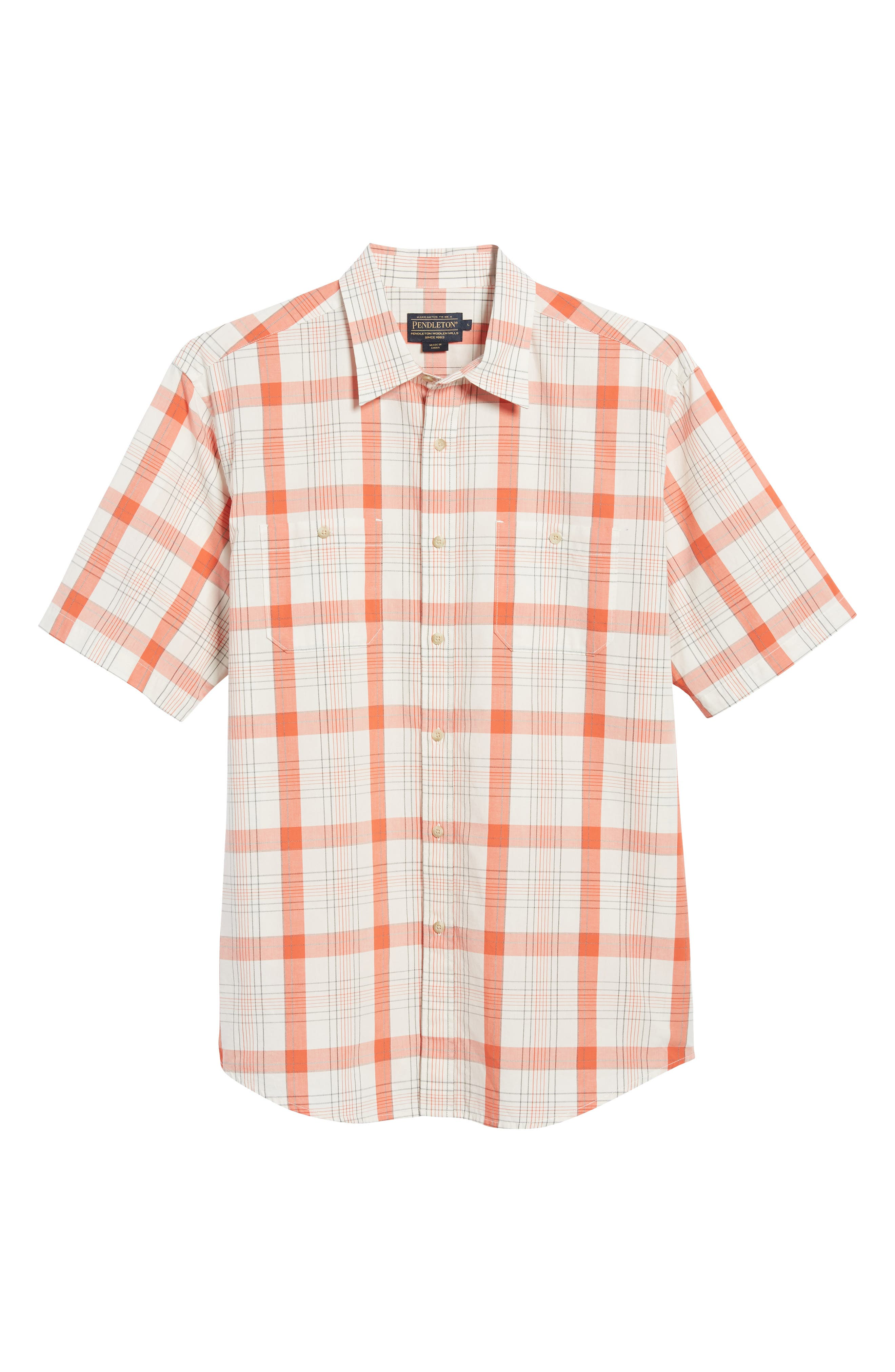 Clear Lake Short Sleeve Woven Shirt,                             Alternate thumbnail 6, color,                             Coral Plaid