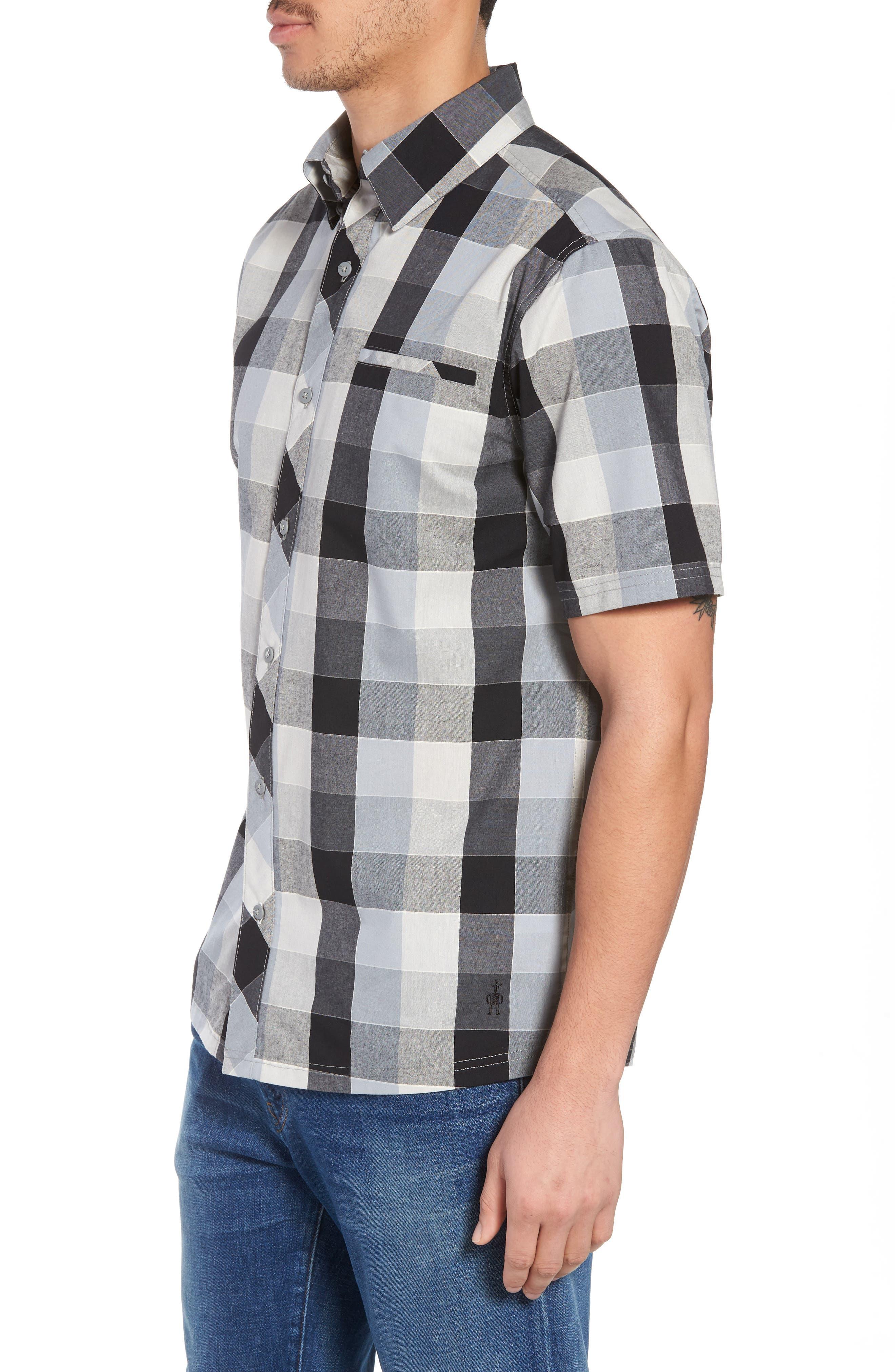 Everyday Exploration Short Sleeve Sport Shirt,                             Alternate thumbnail 3, color,                             Light Grey
