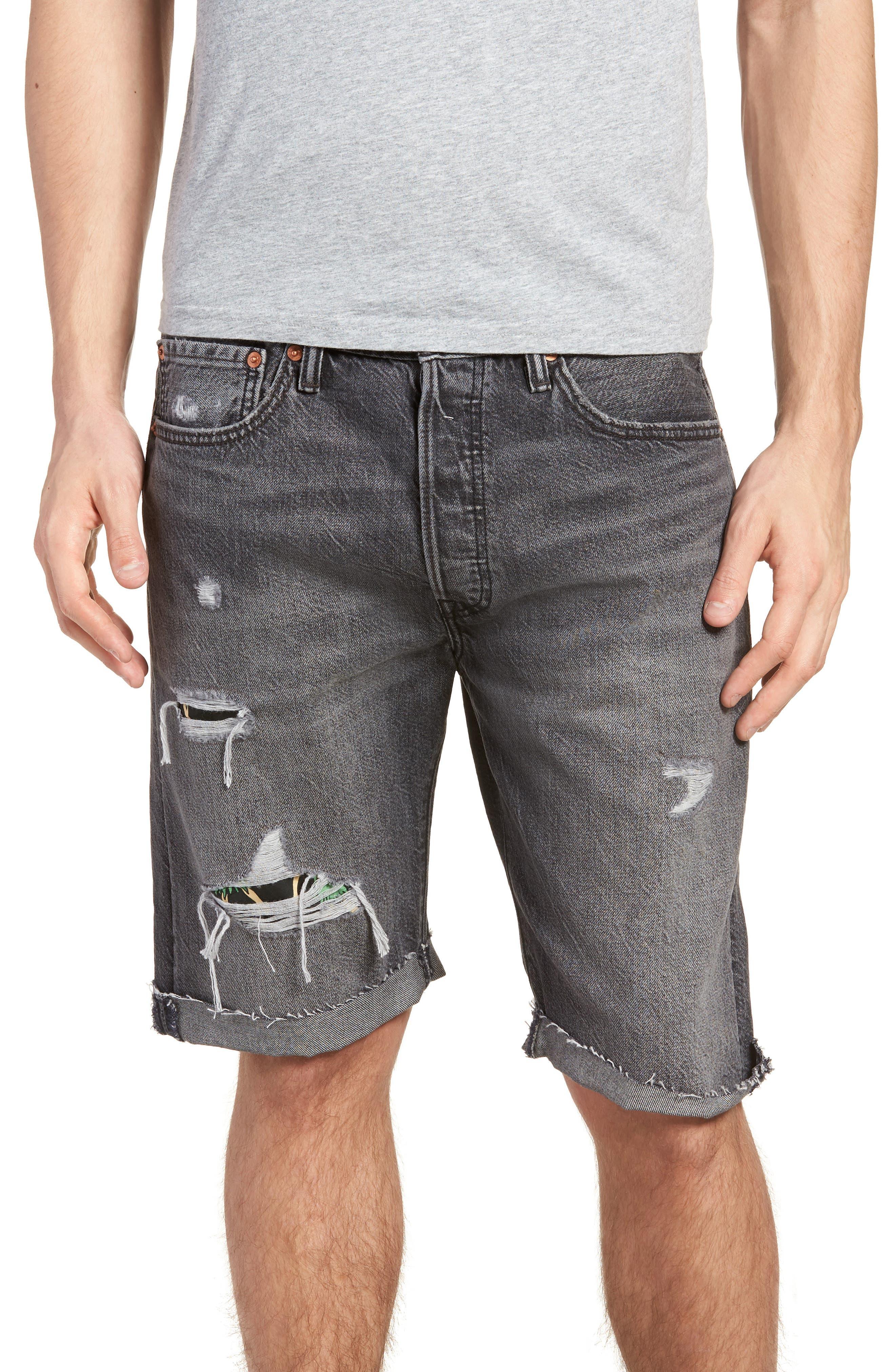 501<sup>®</sup> Cutoff Denim Shorts,                         Main,                         color, Black Hawaii