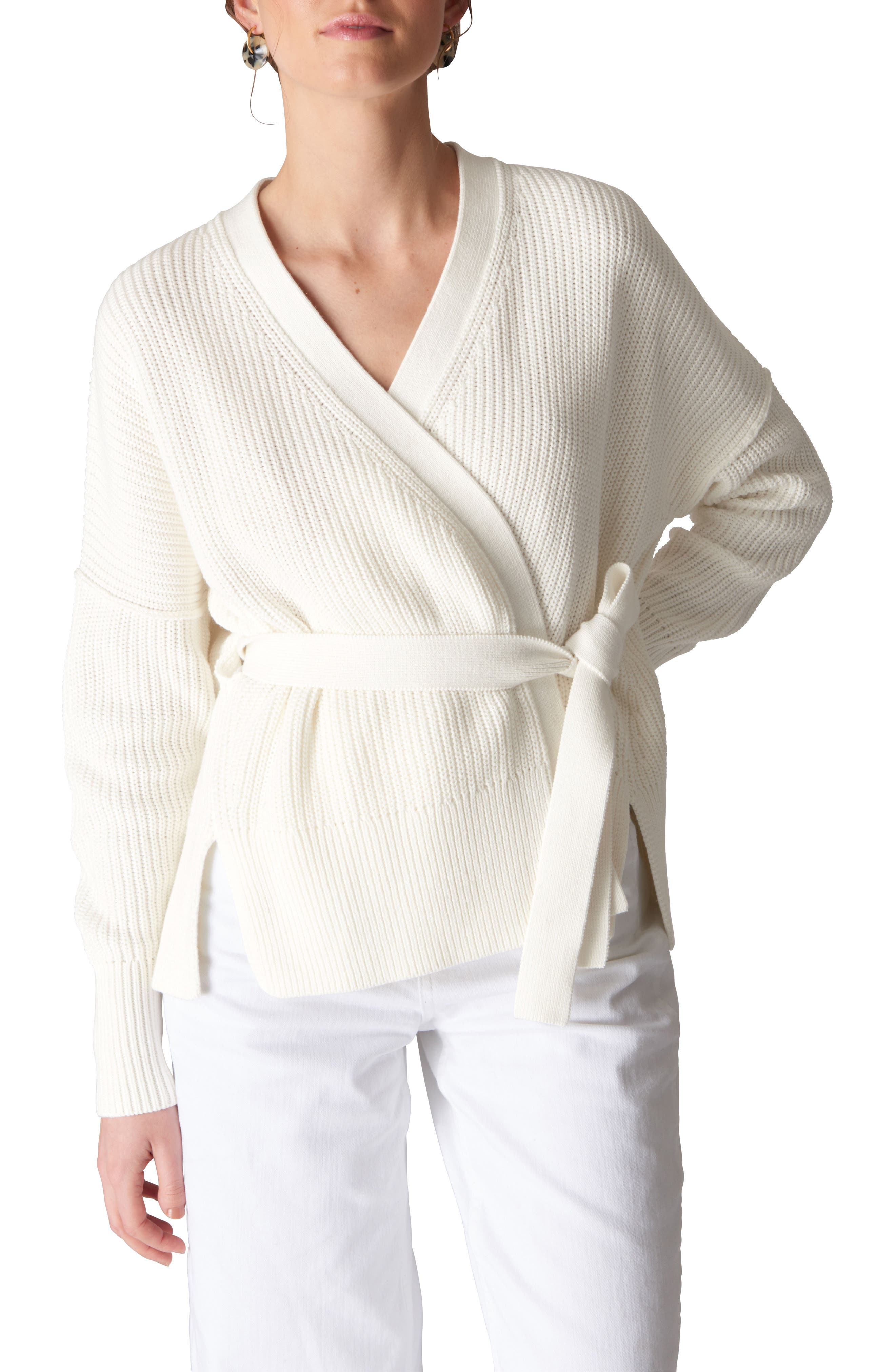 Tie Front Cotton Cardigan,                             Main thumbnail 1, color,                             Ivory