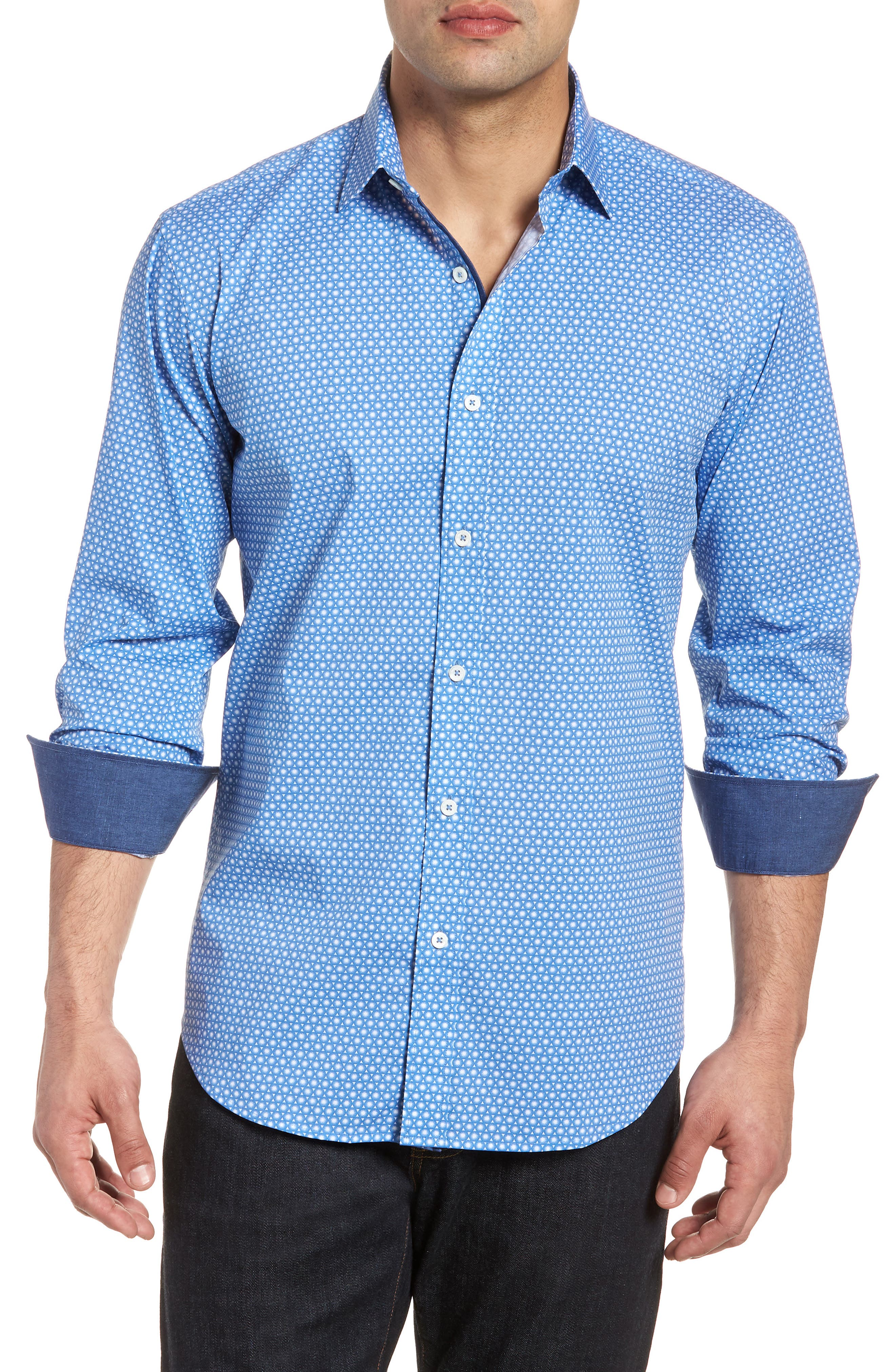 Shaped Fit Circle Print Sport Shirt,                             Main thumbnail 1, color,                             Classic Blue