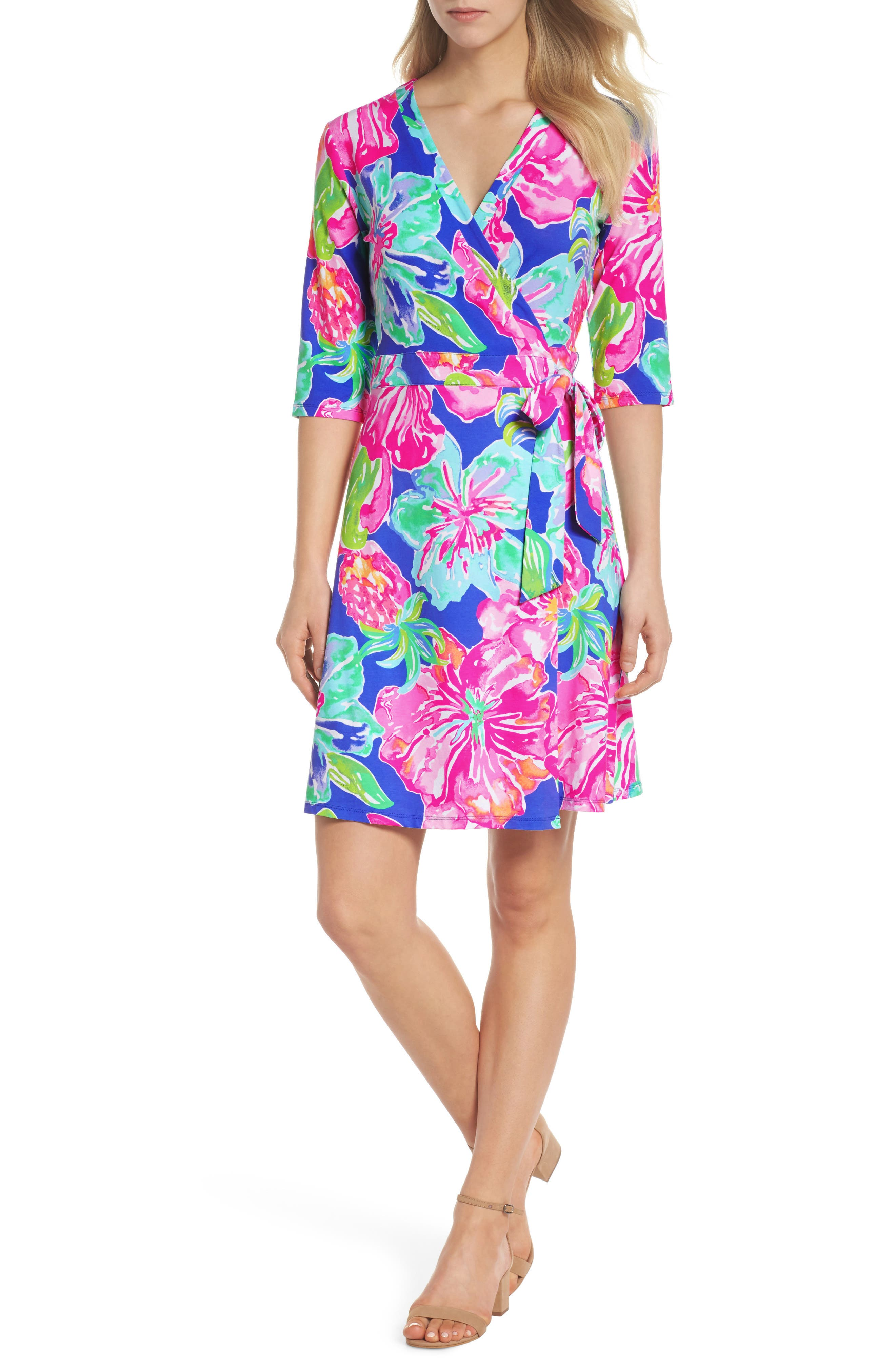Marvista Wrap Dress,                         Main,                         color, Beckon Blue Jungle Utopia