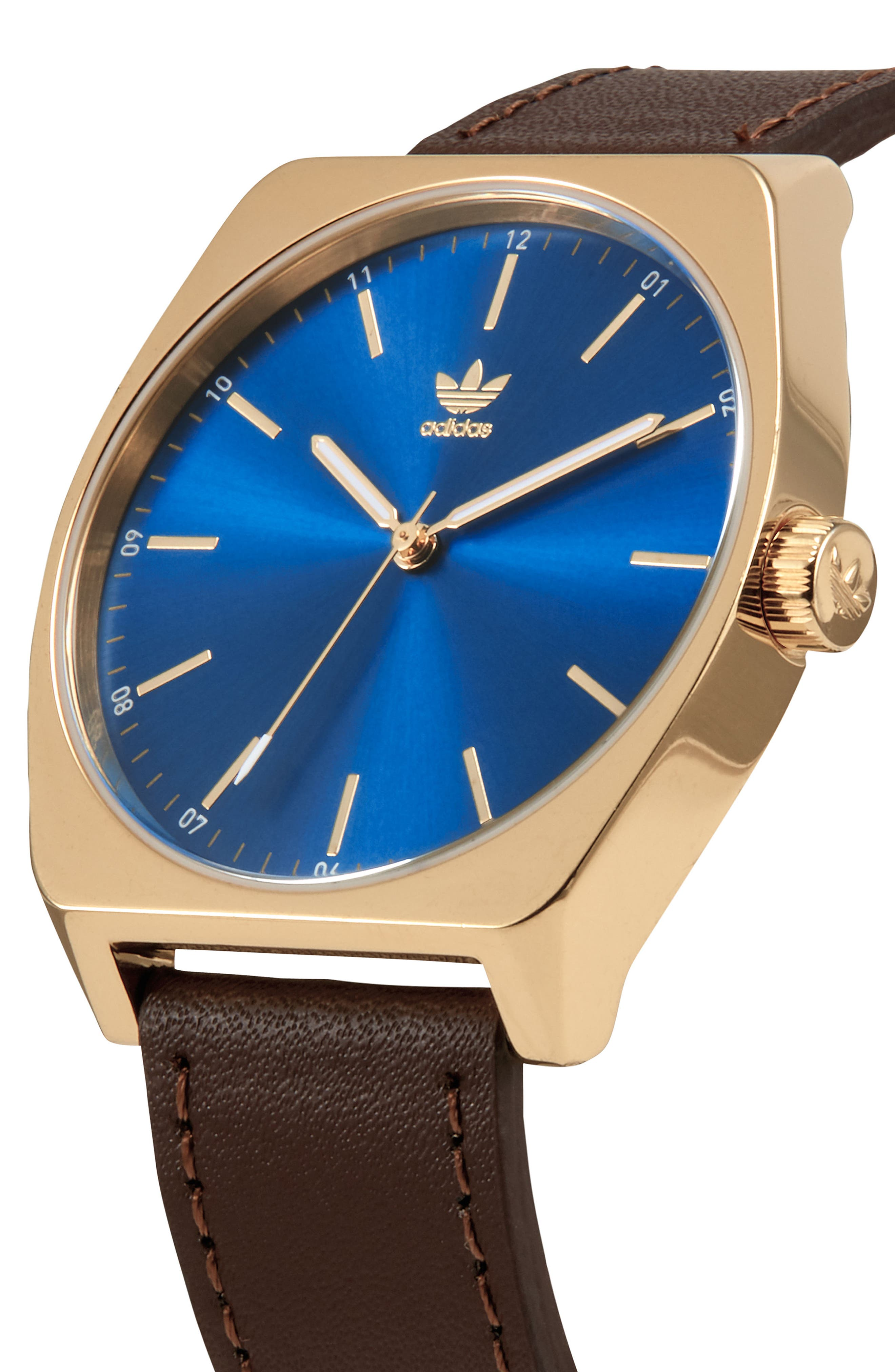 Process Leather Strap Watch, 38mm,                             Alternate thumbnail 5, color,                             Brown/ Blue/ Gold