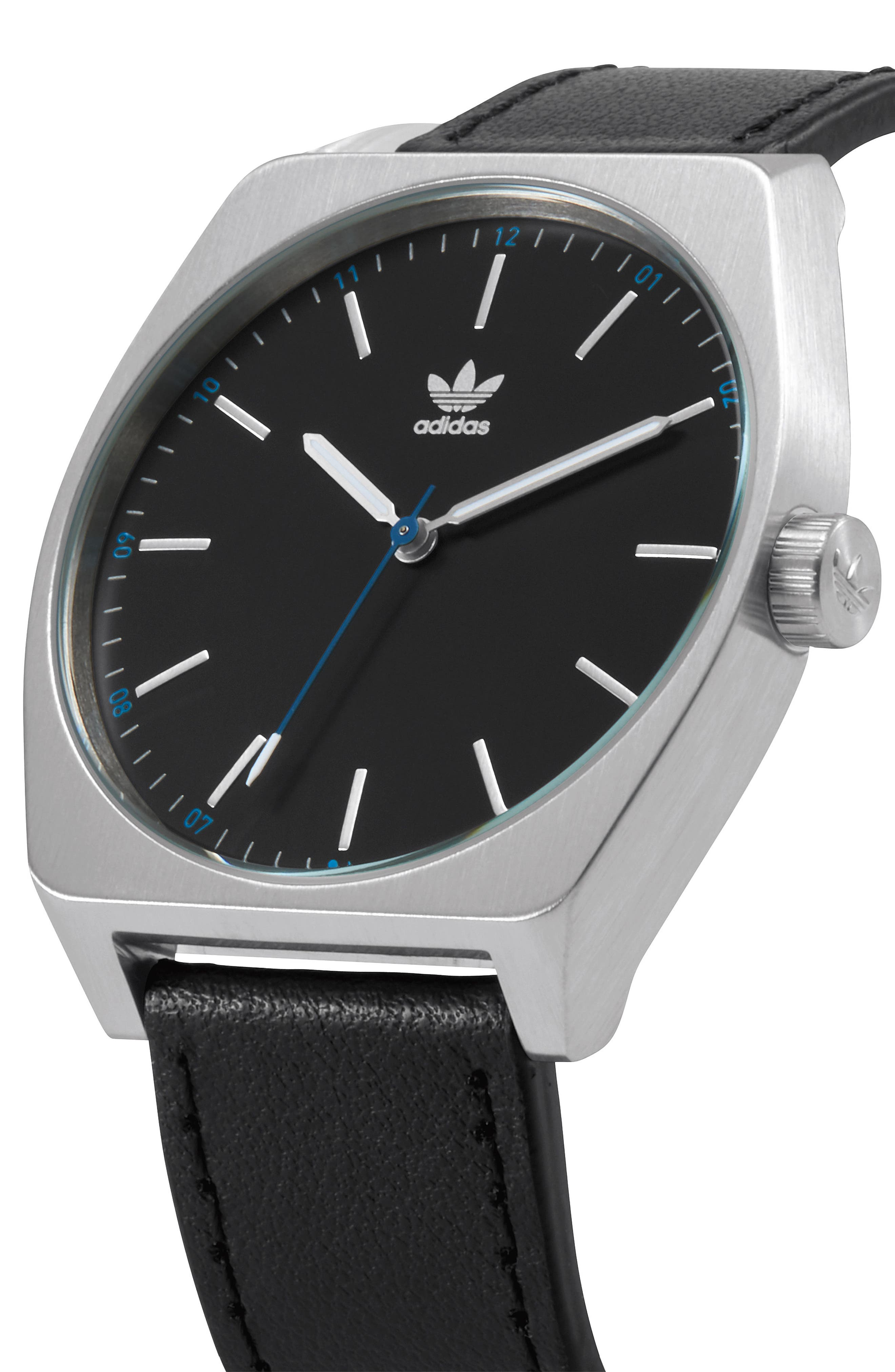 Process Leather Strap Watch, 38mm,                             Alternate thumbnail 4, color,                             Silver/ Black