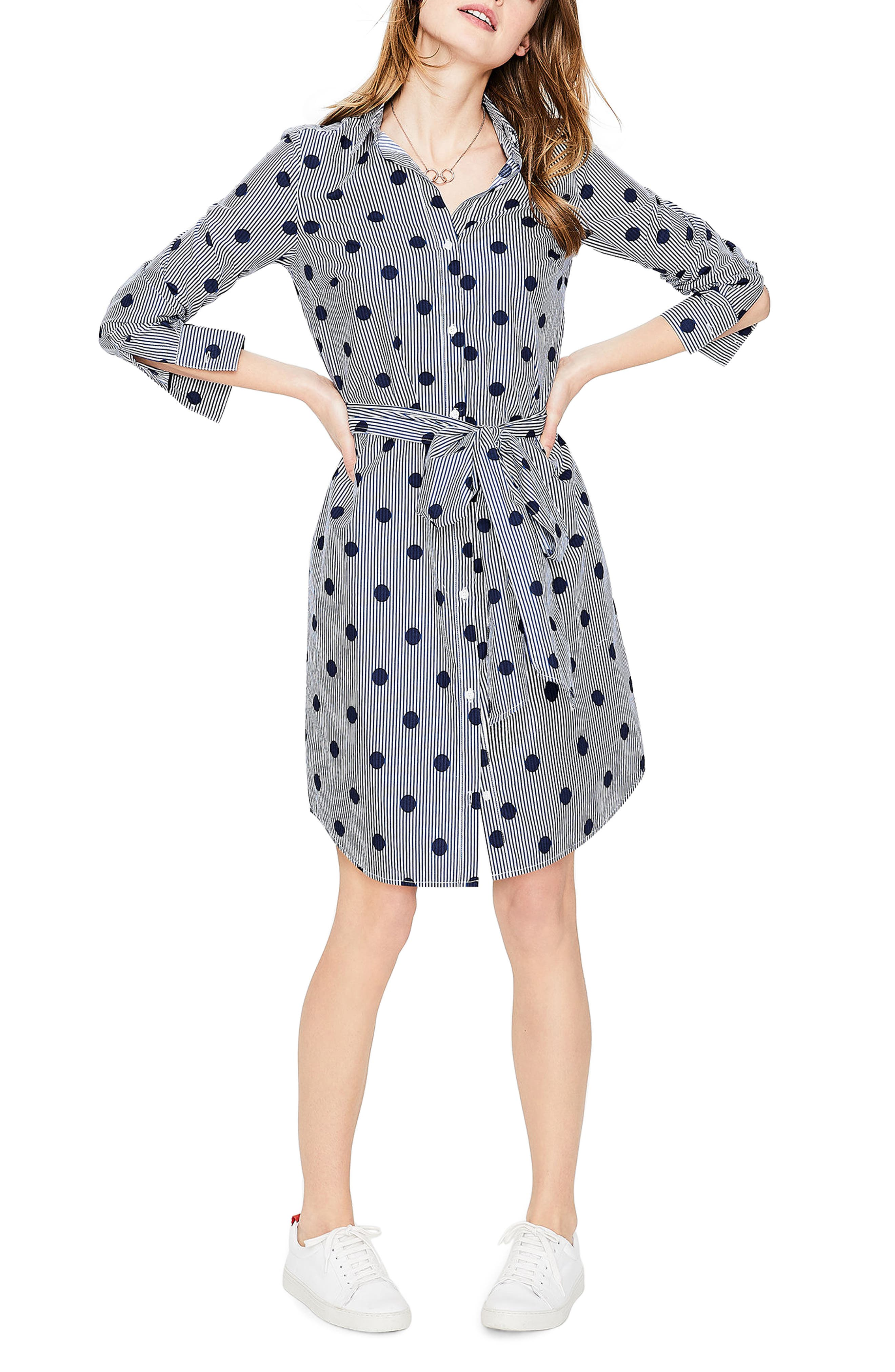 Trend Stripe Dot Cotton Shirtdress,                             Main thumbnail 1, color,                             Navy Spot On Stripe