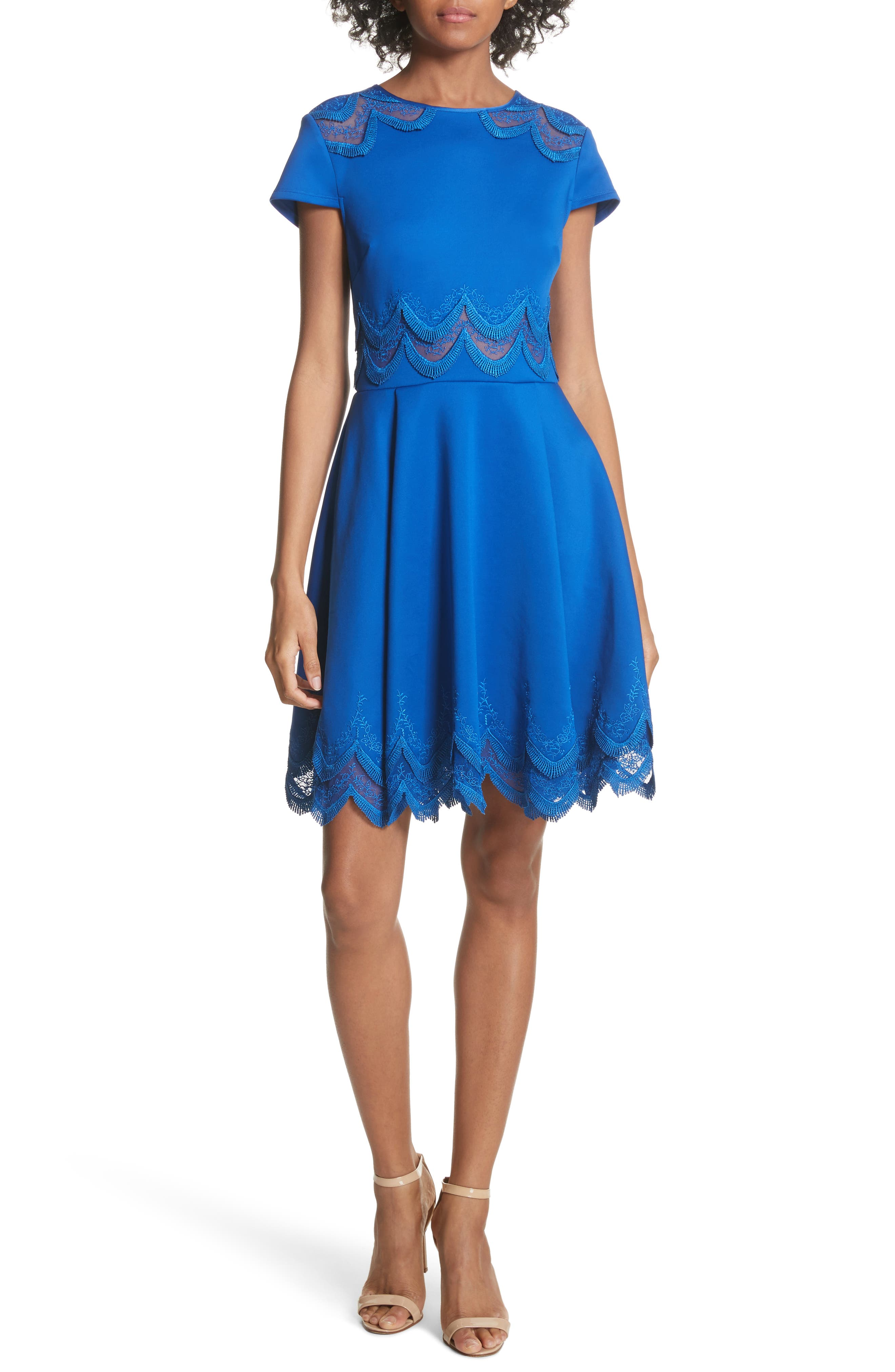 Embroidered Cap Sleeve Skater Dress,                         Main,                         color, Mid Blue