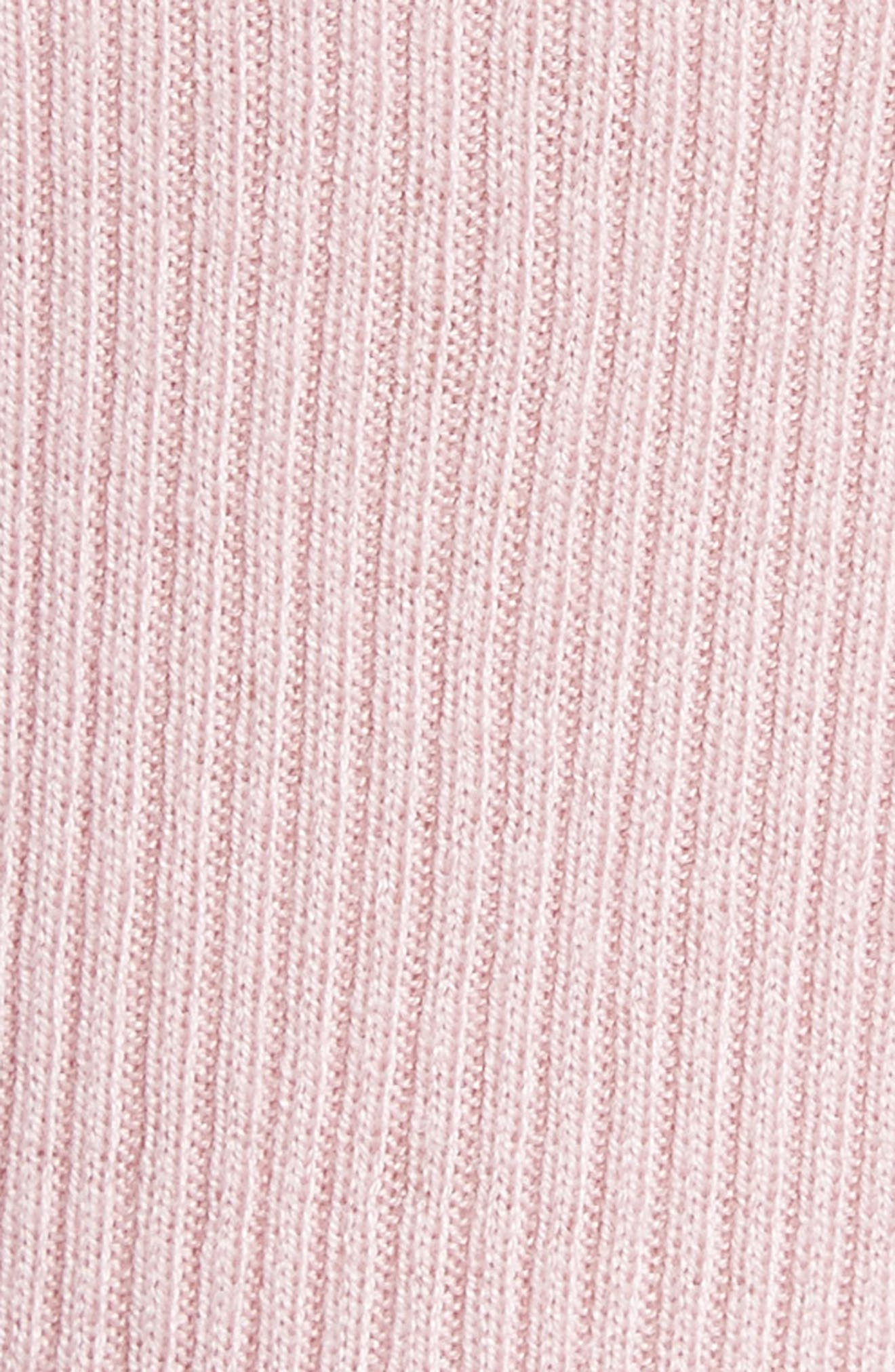 Bow Detail Ribbed Sweater,                             Alternate thumbnail 5, color,                             Dusky Pink