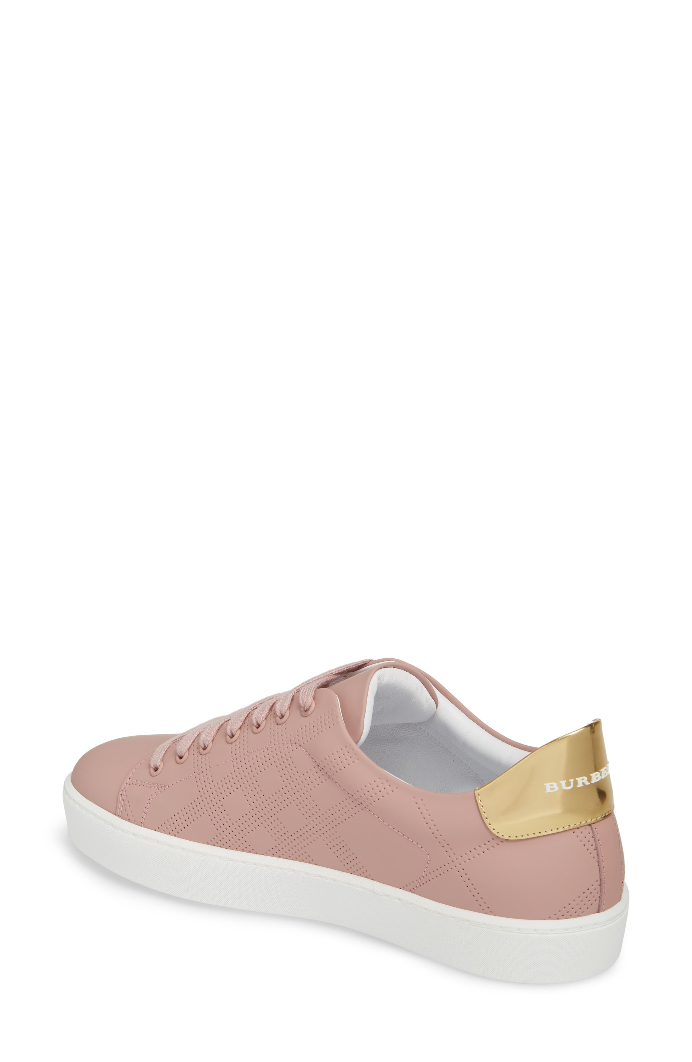 Perforated Check Sneaker,                             Alternate thumbnail 2, color,                             Rose Pink