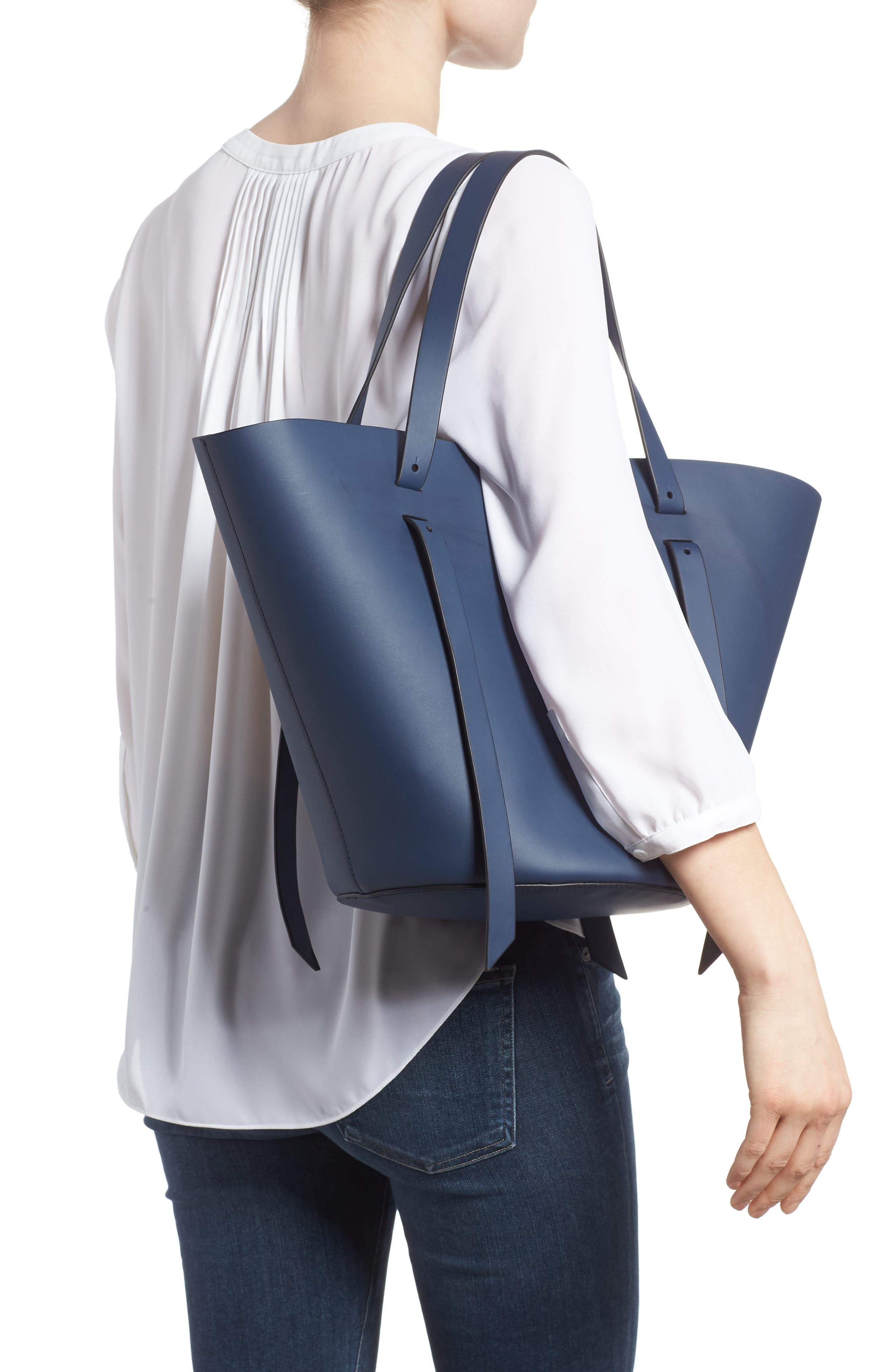 Belay Leather Crossbody Tote,                             Alternate thumbnail 2, color,                             Blue