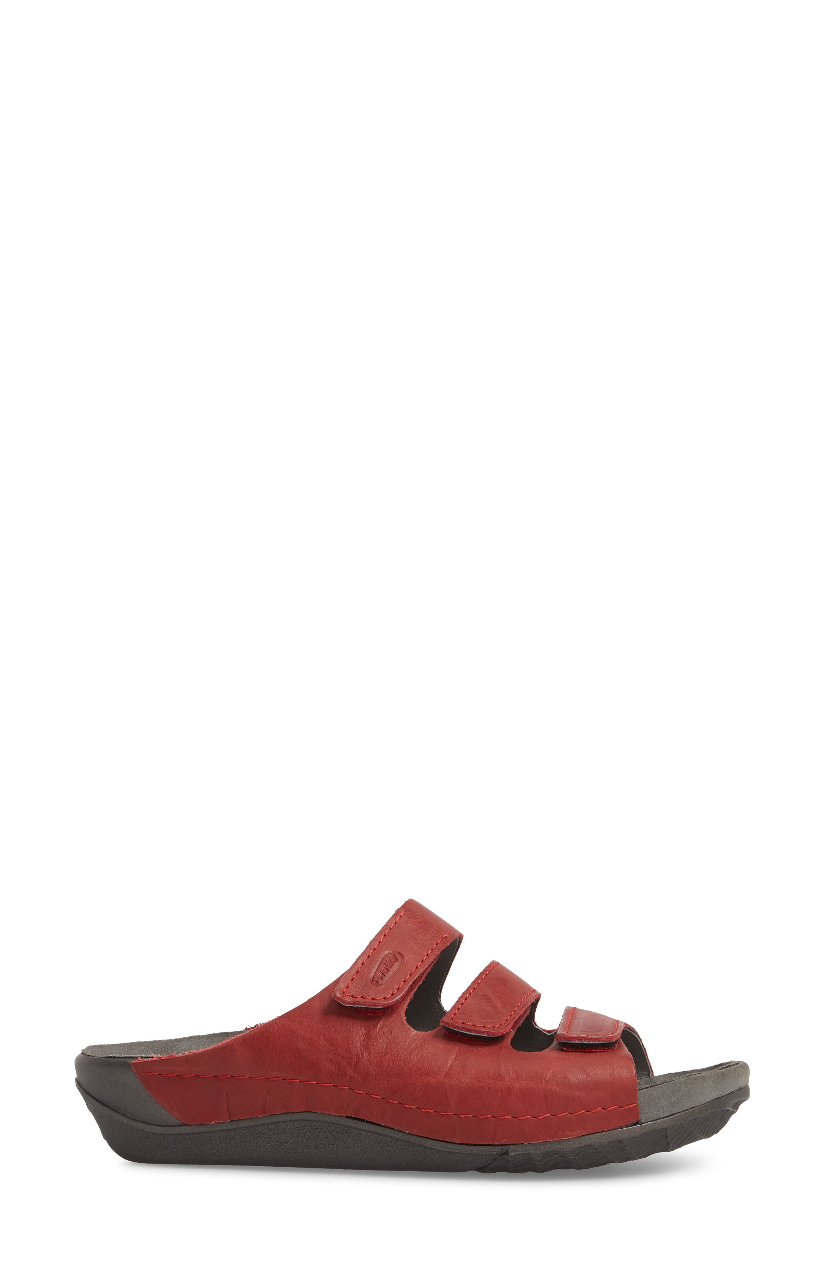 Nomad Slide Sandal,                             Alternate thumbnail 3, color,                             Red Leather