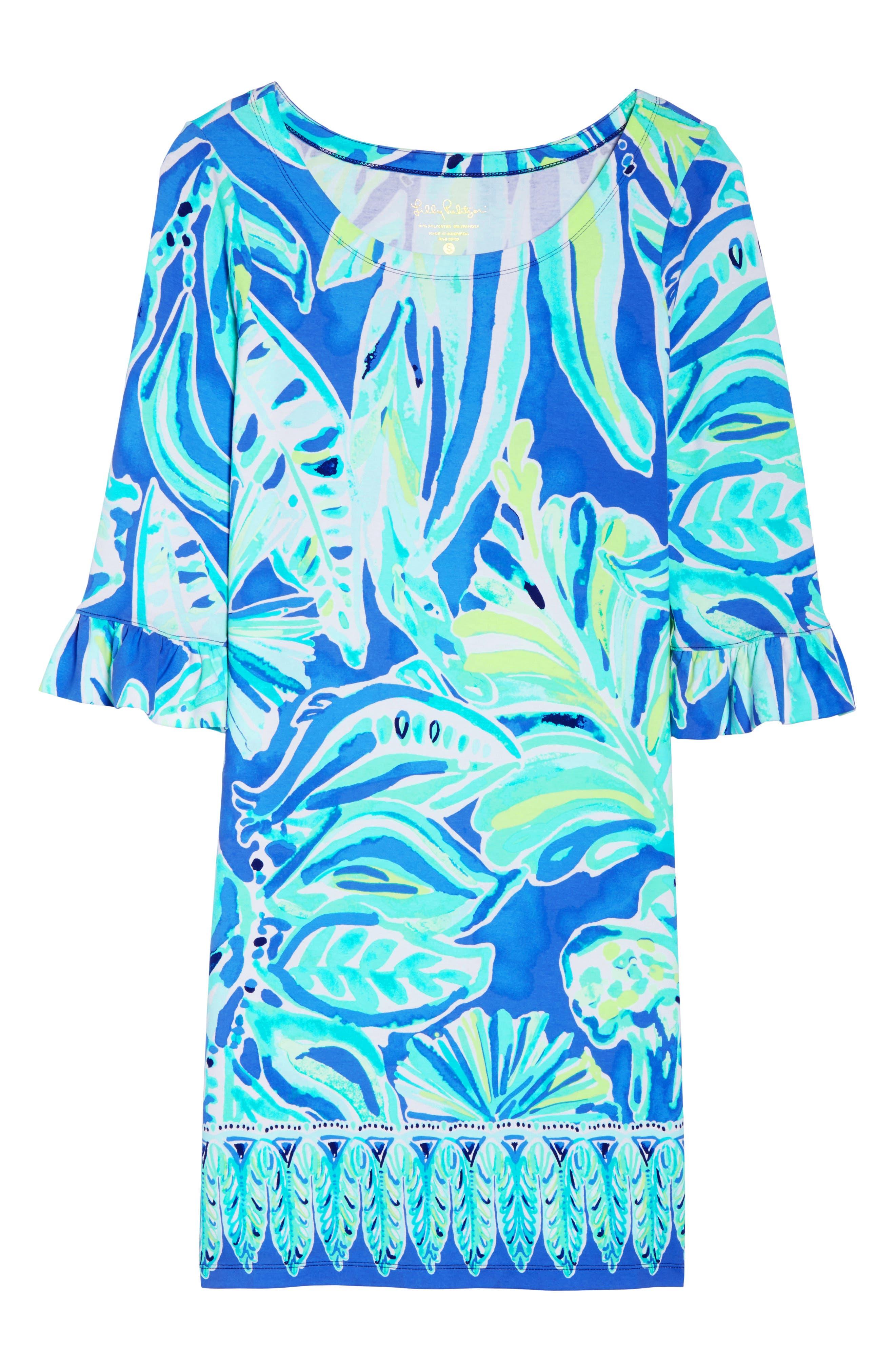 Sophie UPF 50+ Shift Dress,                             Alternate thumbnail 6, color,                             Beckon Blue Palm Passage