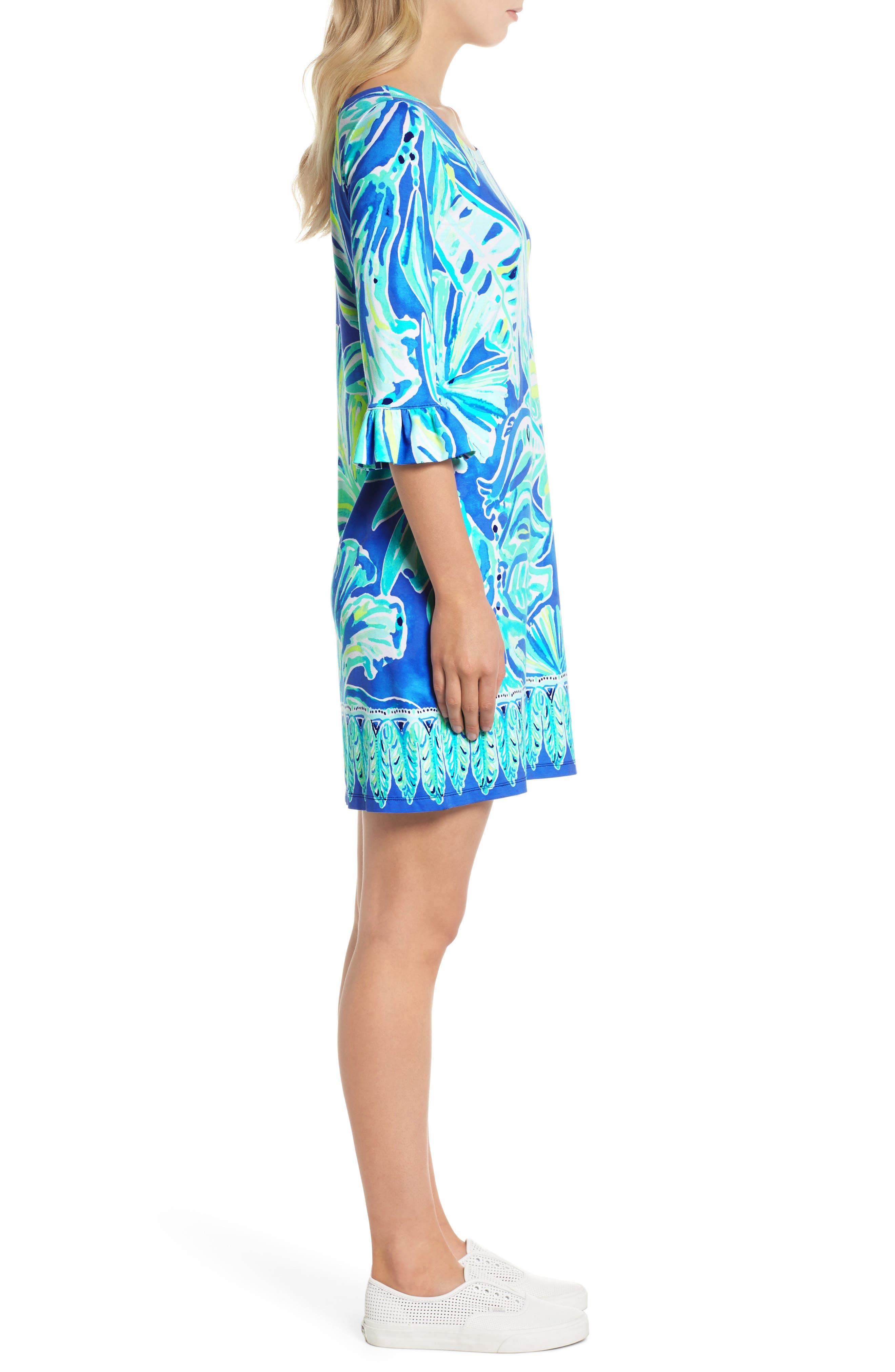 Sophie UPF 50+ Shift Dress,                             Alternate thumbnail 3, color,                             Beckon Blue Palm Passage