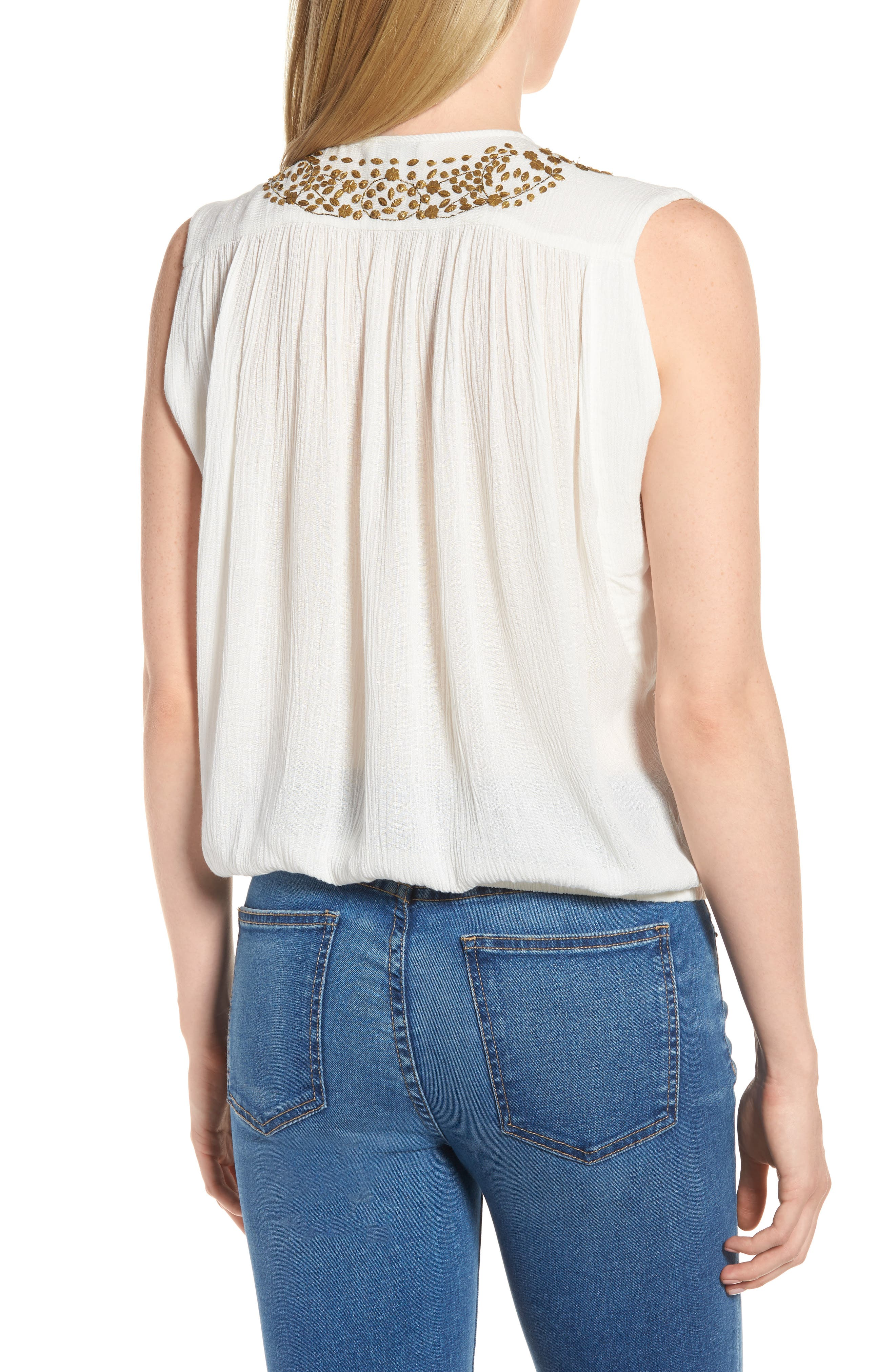 Helena Embellished Top,                             Alternate thumbnail 2, color,                             Marshmallow