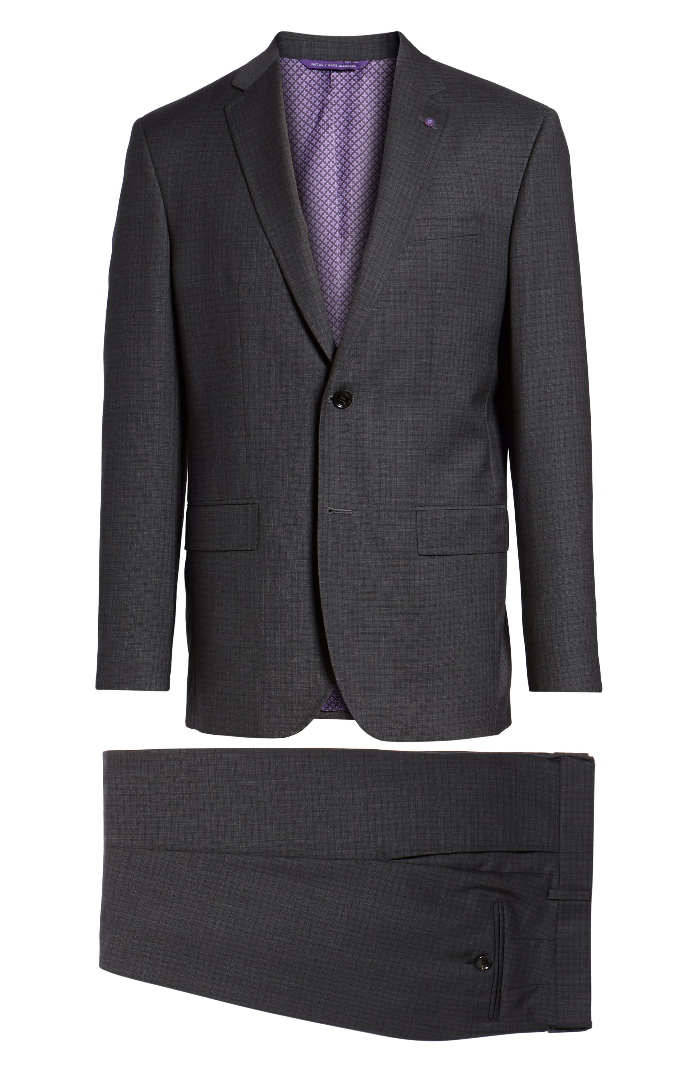 Jay Trim Fit Check Wool Suit,                             Alternate thumbnail 8, color,                             Charcoal