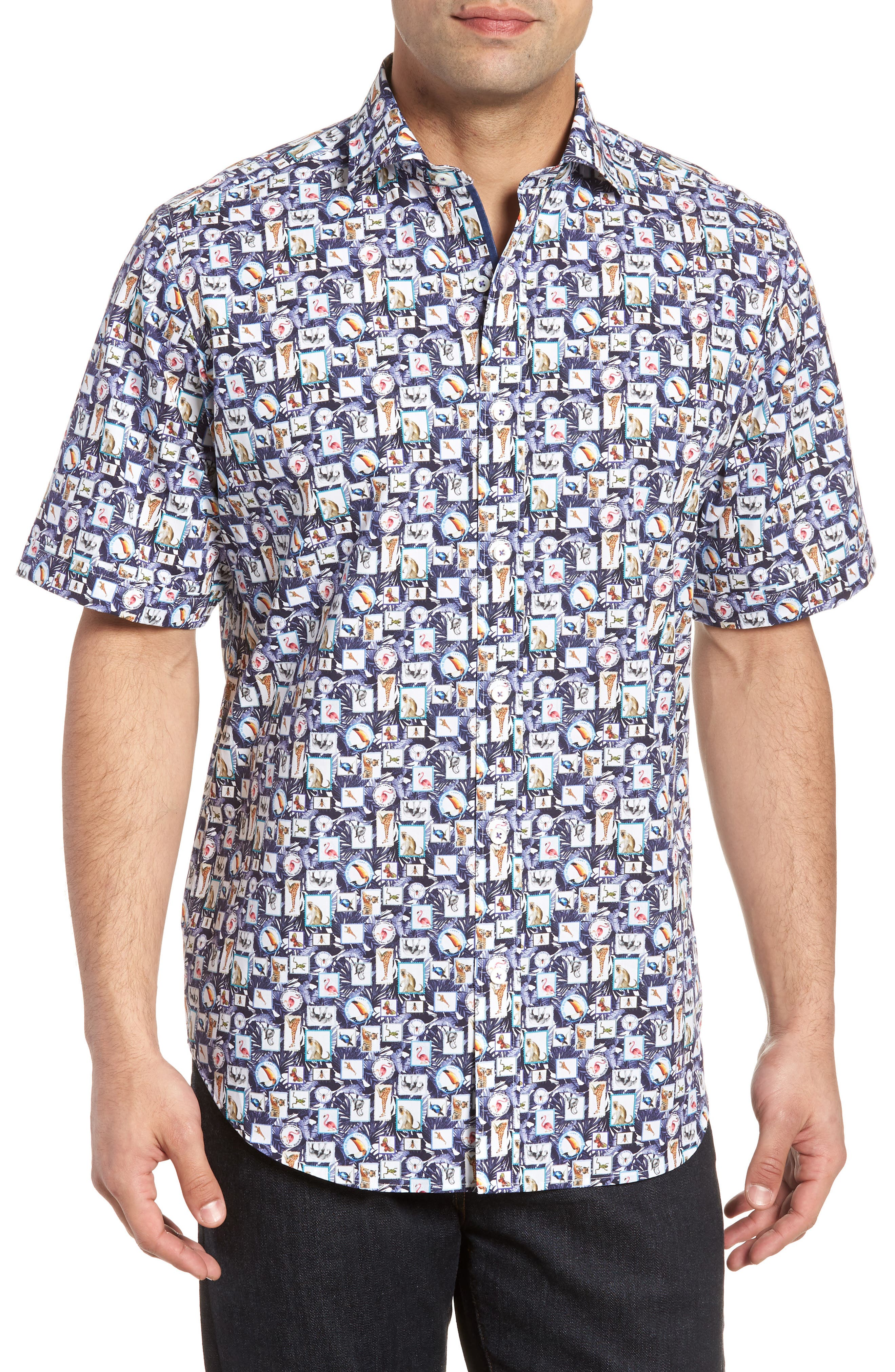 Animal Photo Collage Classic Fit Sport Shirt,                         Main,                         color, Night Blue