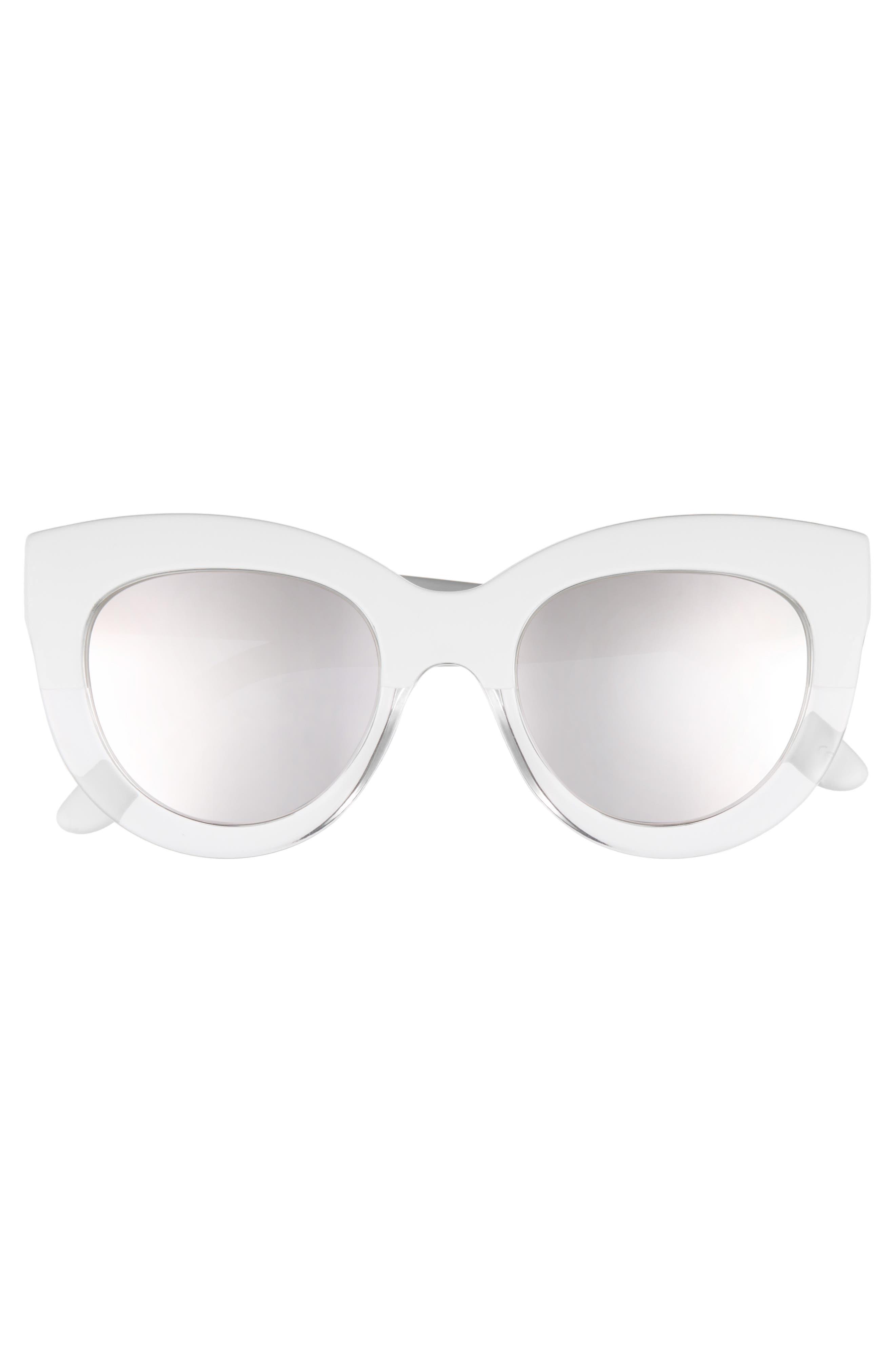 Tortola V2 51mm Polarized Cat Eye Sunglasses,                             Alternate thumbnail 3, color,                             White Splice