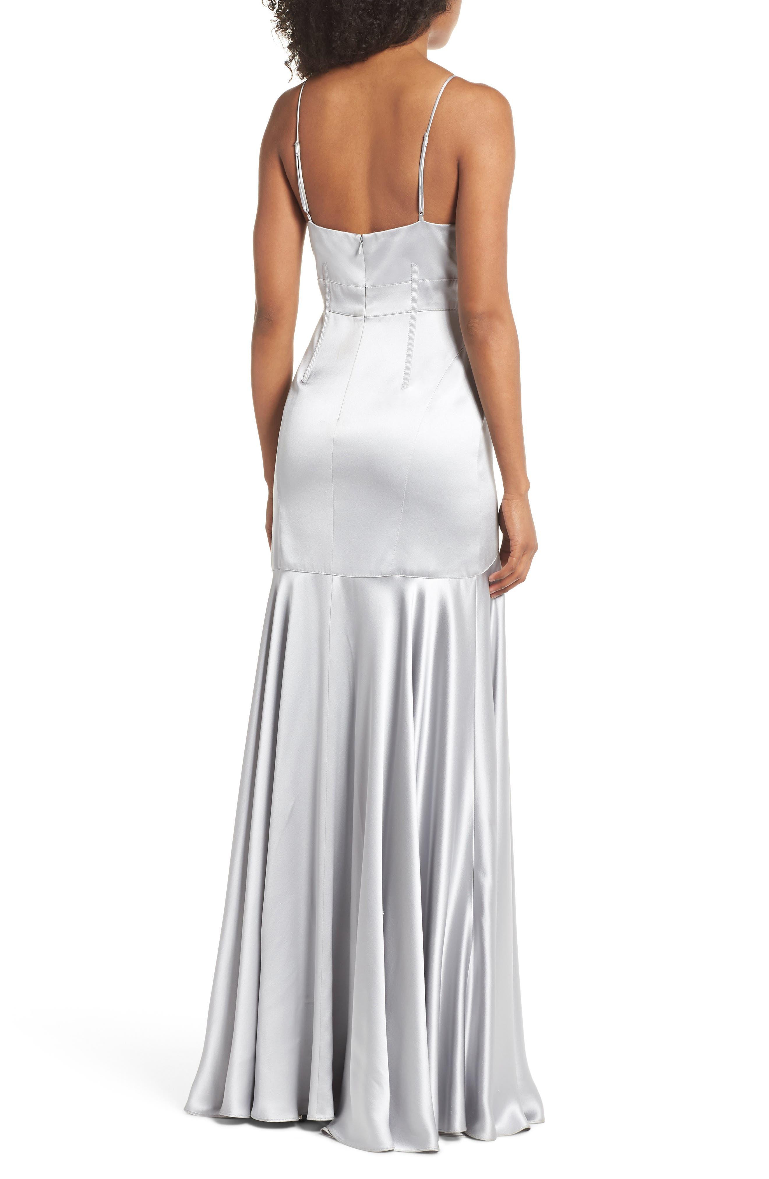 Corset Detail Satin Gown,                             Alternate thumbnail 2, color,                             Mercury