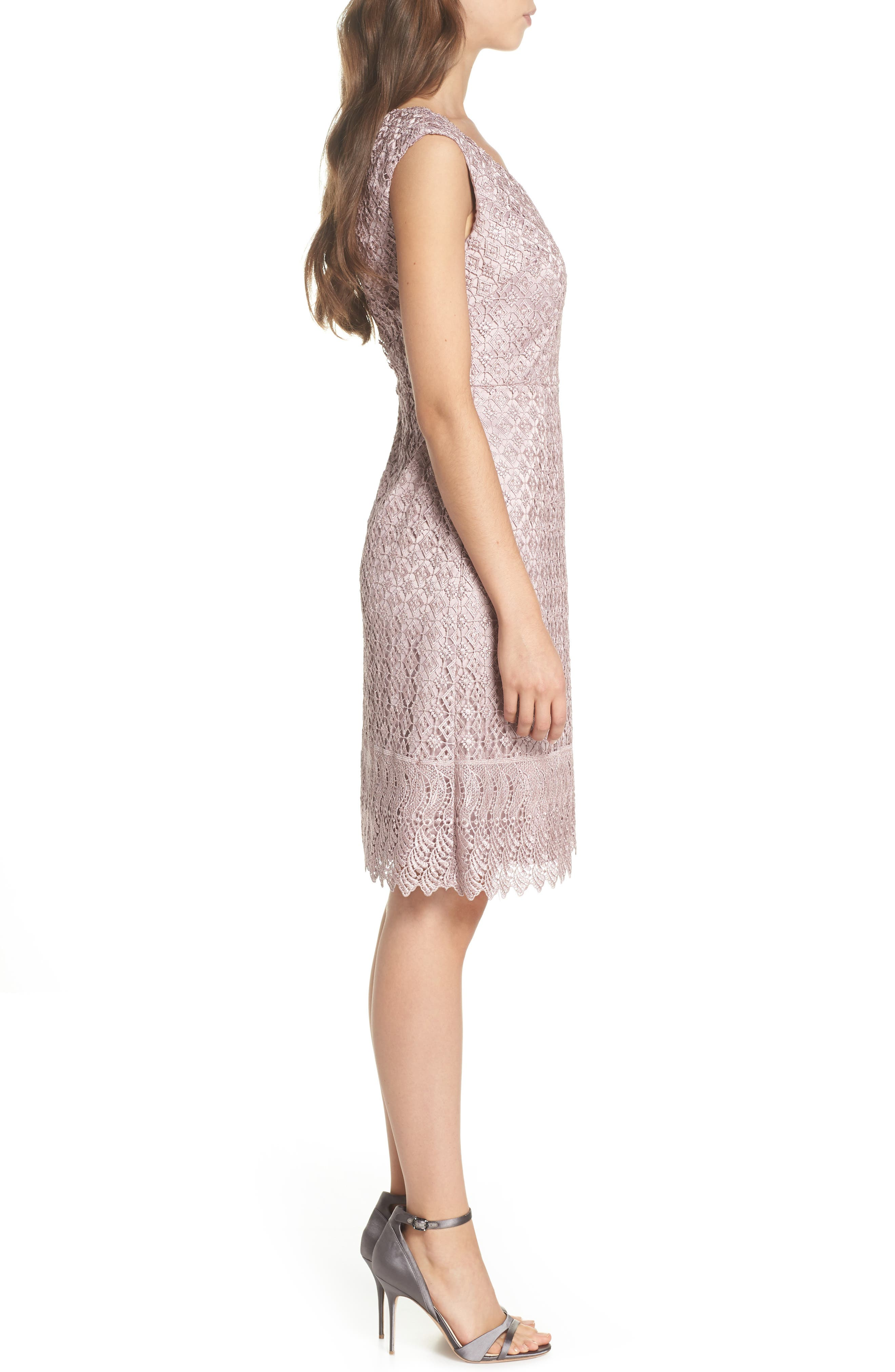 Guipure Lace Dress,                             Alternate thumbnail 3, color,                             Pink Sateen