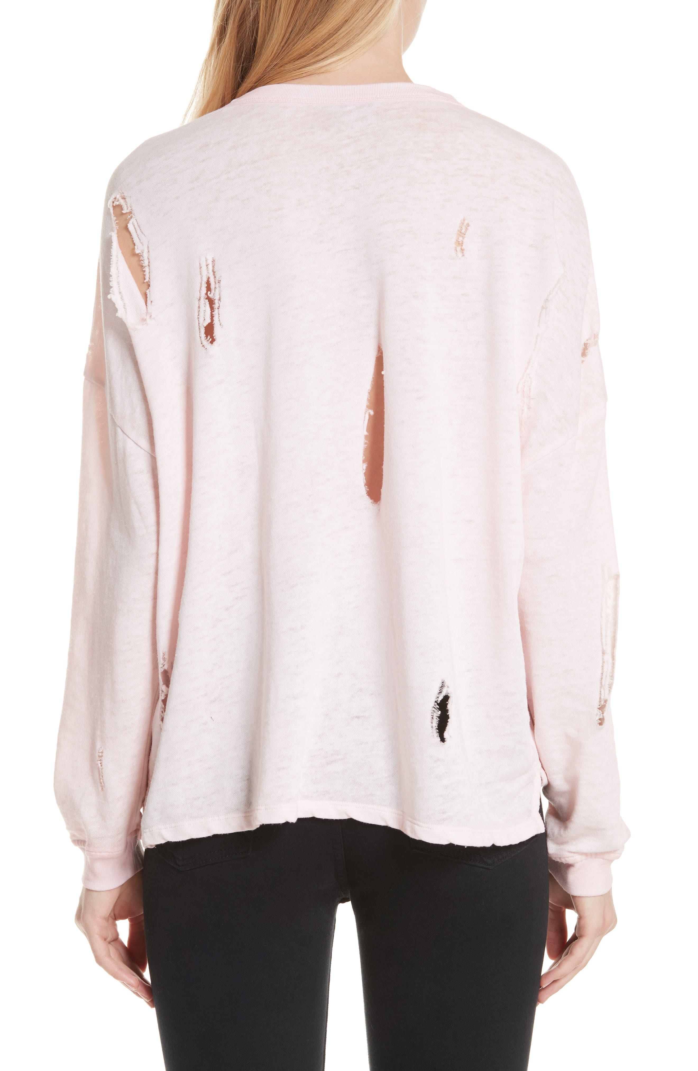 Lyzza Distressed Sweatshirt,                             Alternate thumbnail 2, color,                             Pink Sand