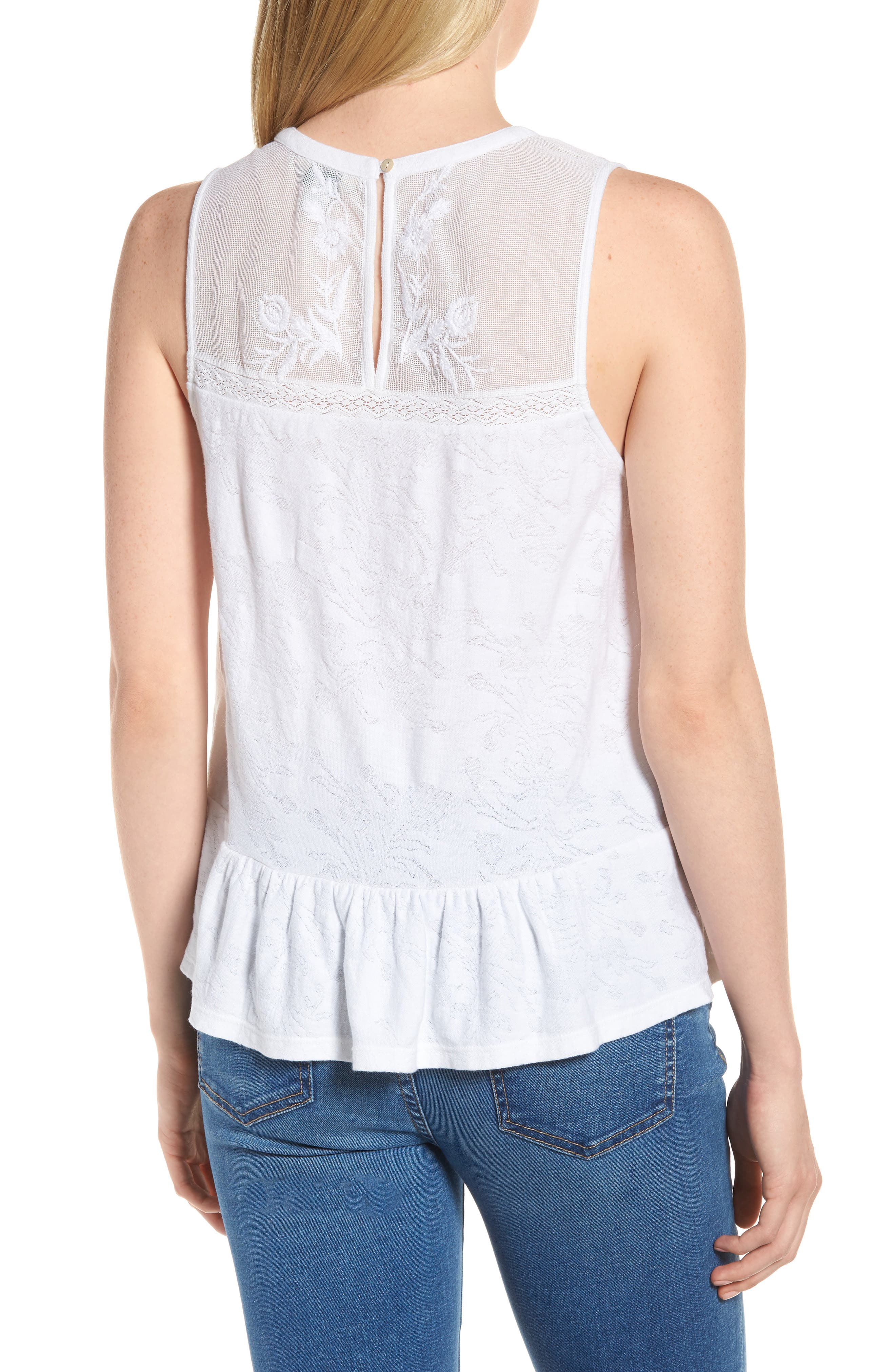 Tiered Jacquard Tank Top,                             Alternate thumbnail 2, color,                             Lucky White