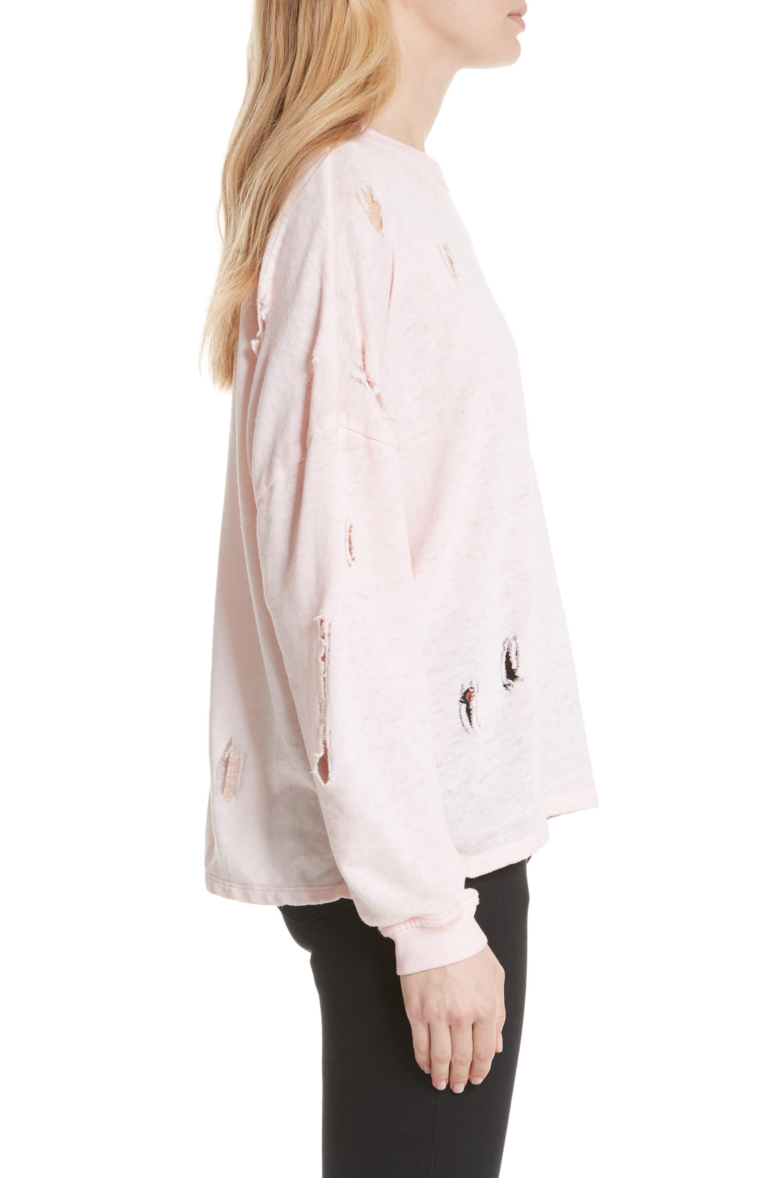 Lyzza Distressed Sweatshirt,                             Alternate thumbnail 3, color,                             Pink Sand