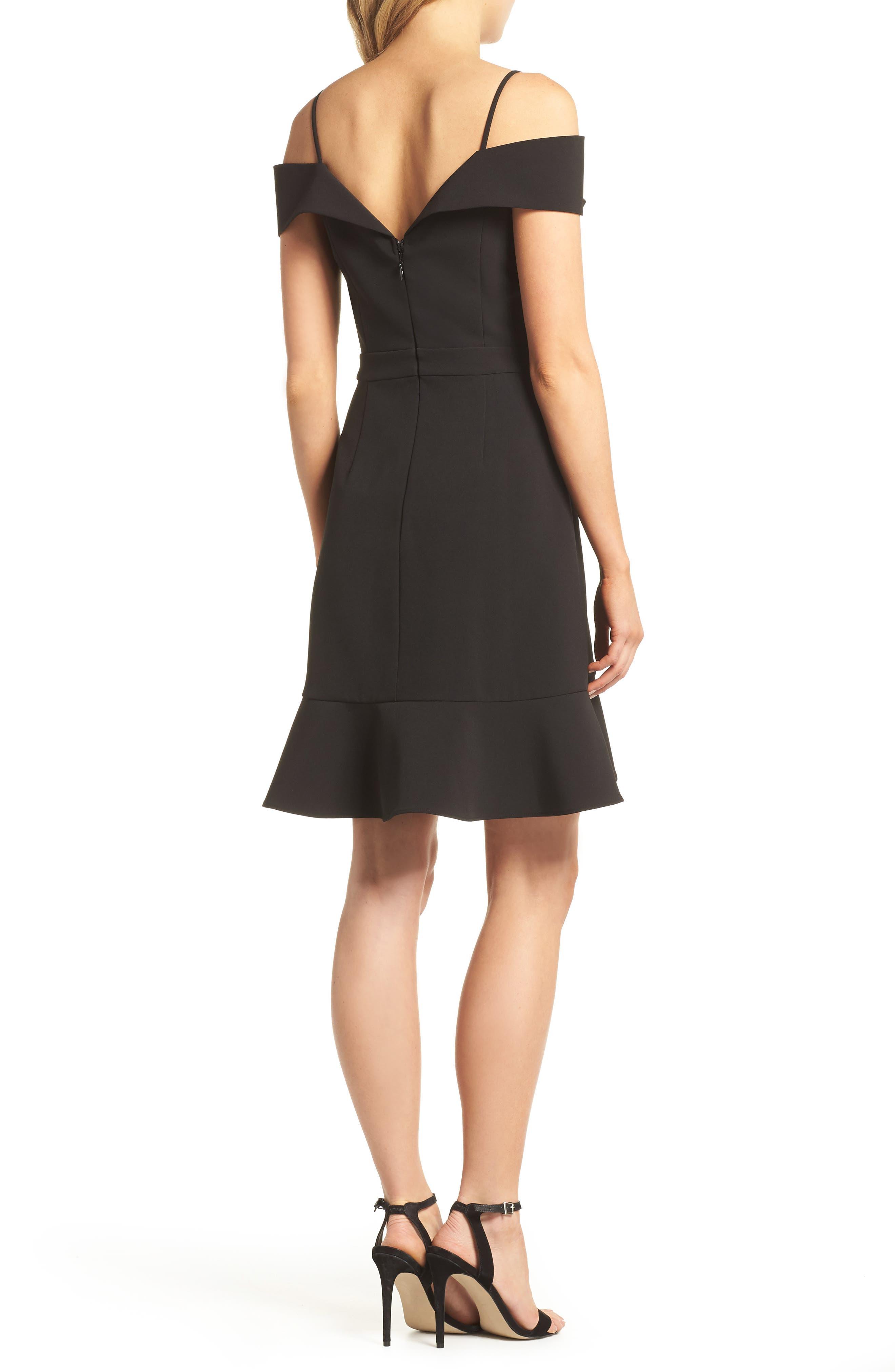 Cold Shoulder Ruffle Sheath Dress,                             Alternate thumbnail 2, color,                             Black